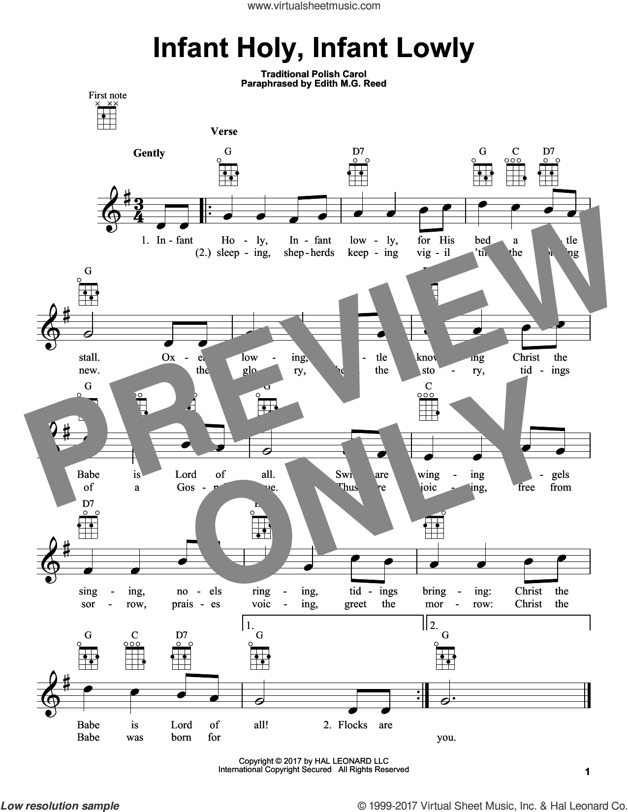 Infant Holy, Infant Lowly sheet music for ukulele by Edith M.G. Reed and Miscellaneous, intermediate skill level