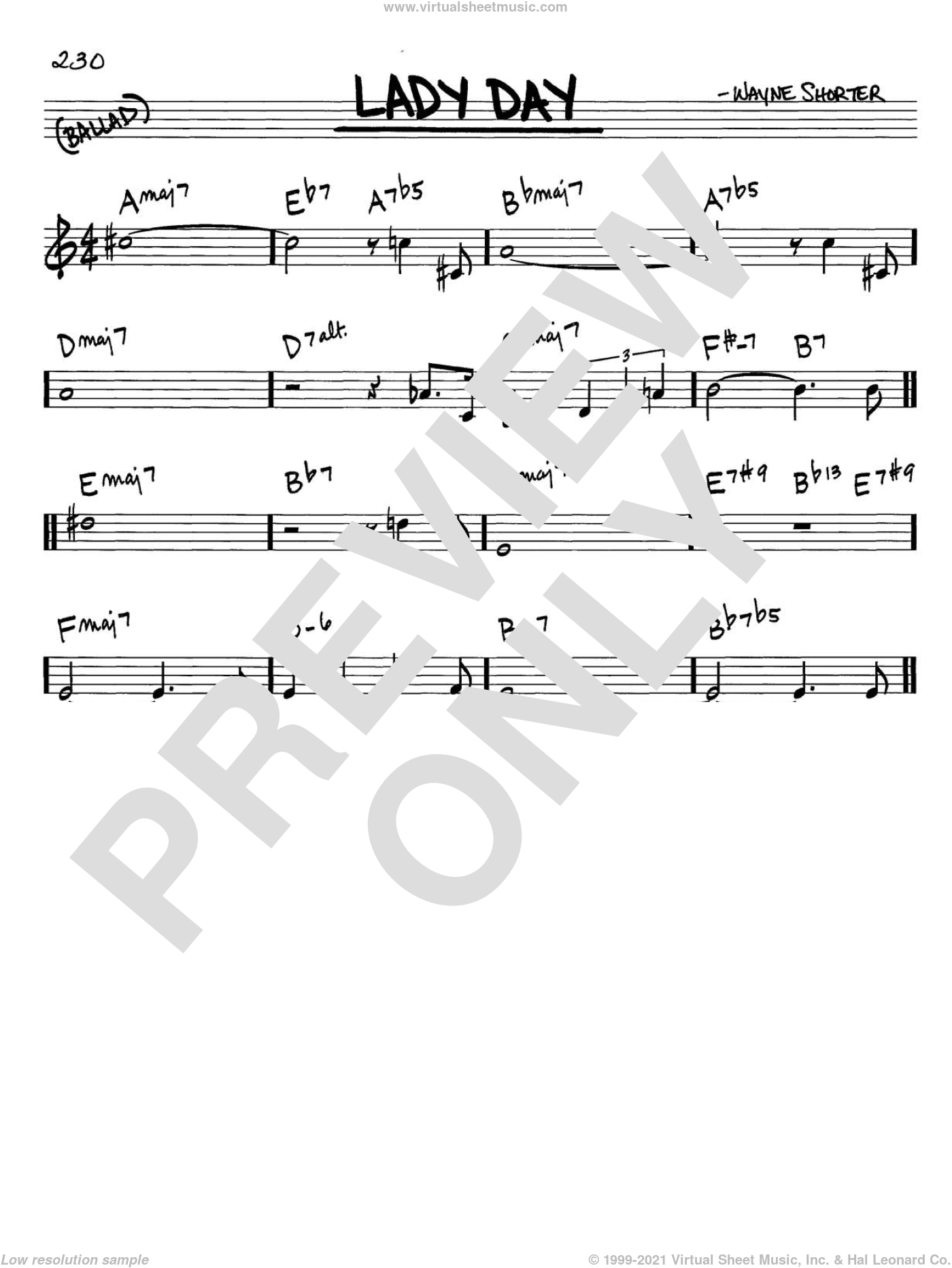 Lady Day sheet music for voice and other instruments (C) by Wayne Shorter. Score Image Preview.