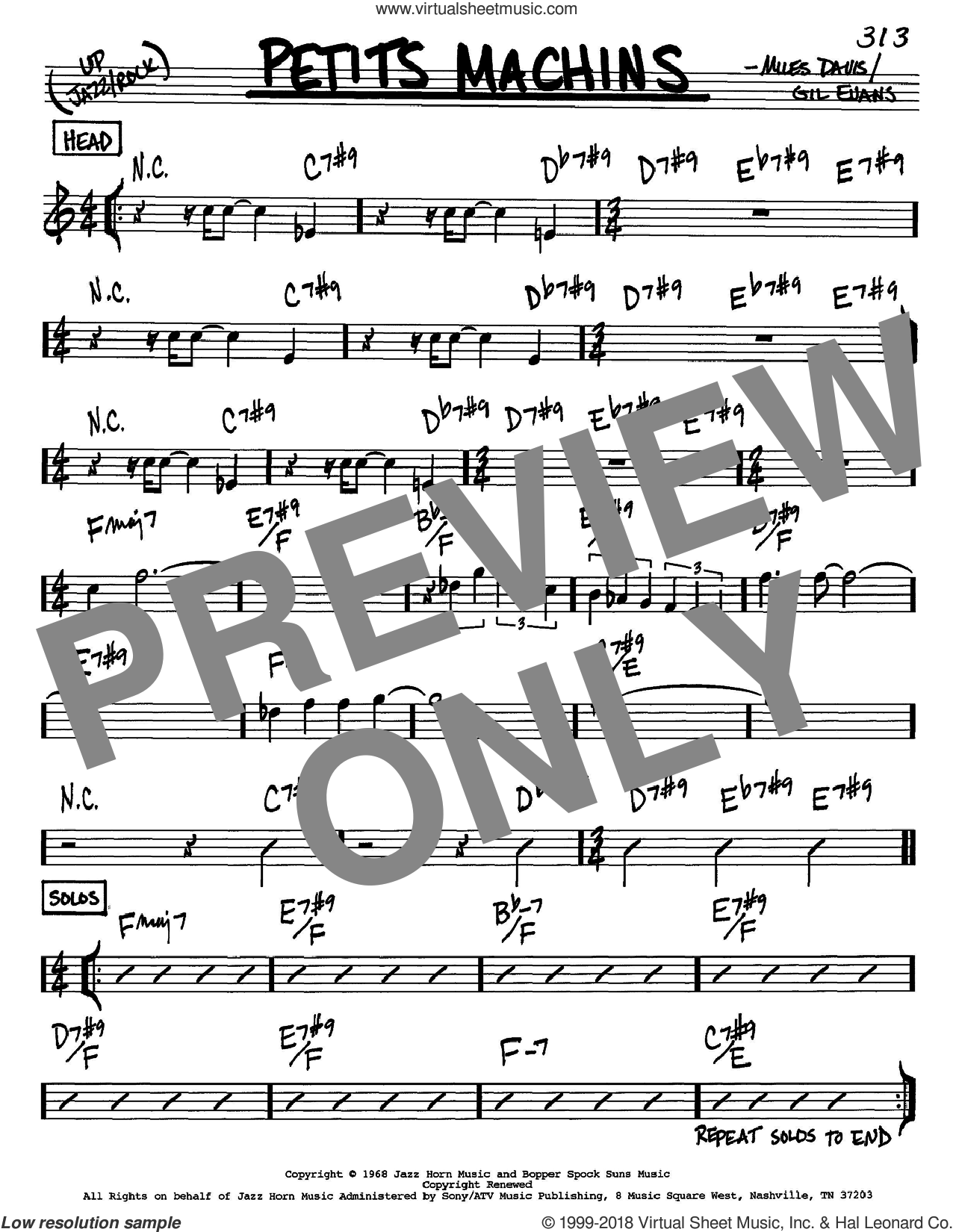 Petits Machins sheet music for voice and other instruments (in C) by Miles Davis and Gil Evans, intermediate. Score Image Preview.
