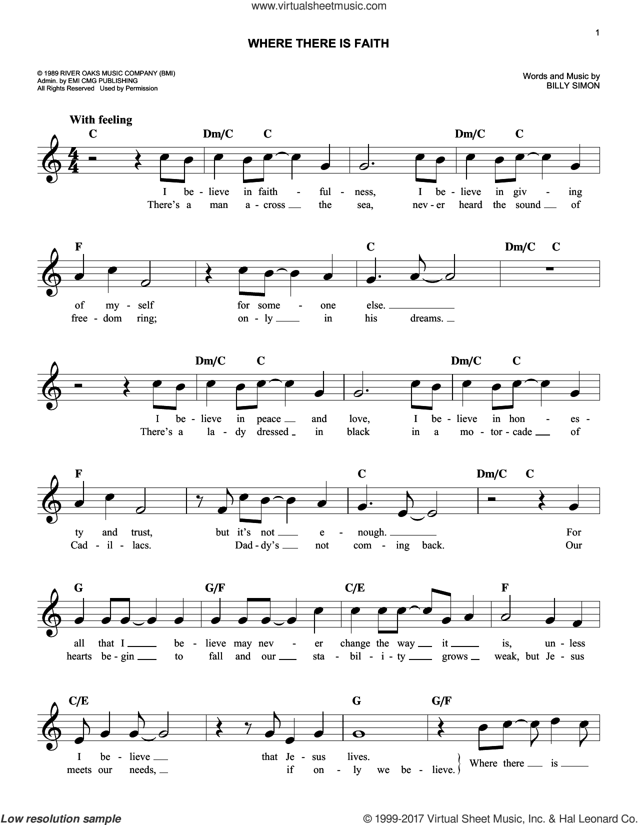 Where There Is Faith sheet music for voice and other instruments (fake book) by 4Him and Billy Simon, intermediate skill level
