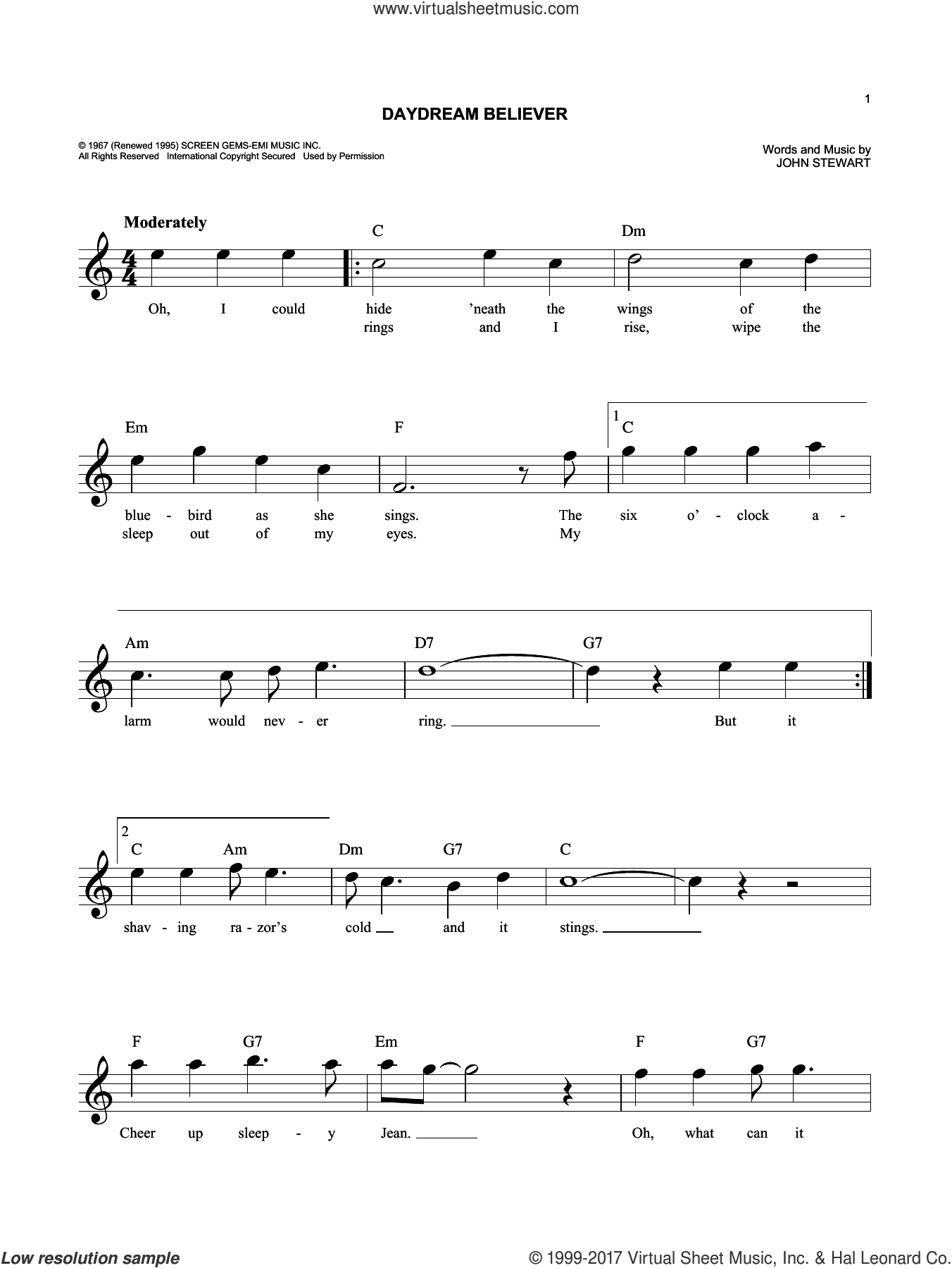Daydream Believer sheet music for voice and other instruments (fake book) by The Monkees and John Stewart, intermediate skill level