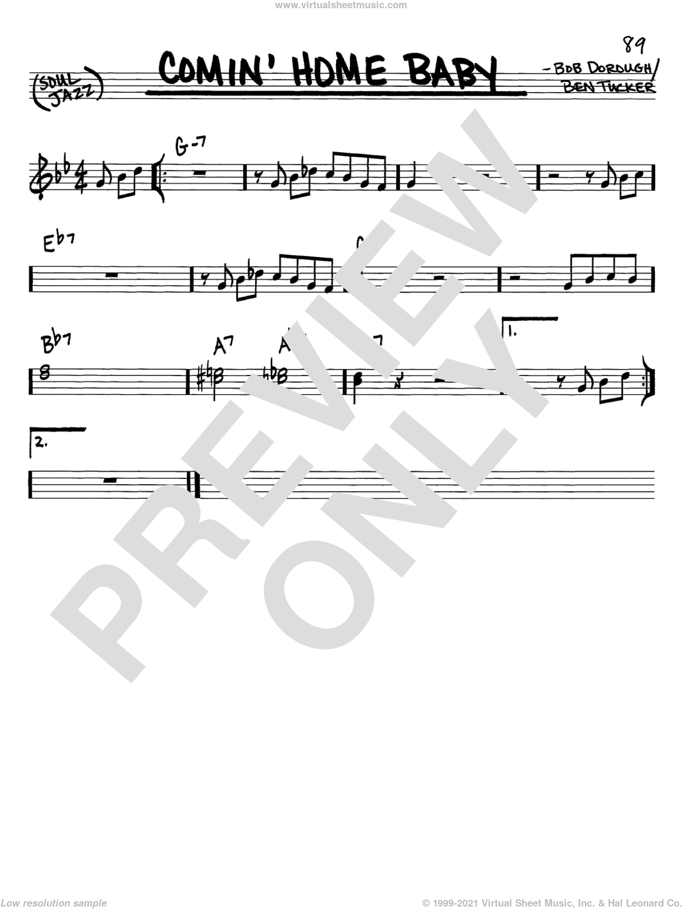 Comin' Home Baby sheet music for voice and other instruments (C) by Bob Dorough