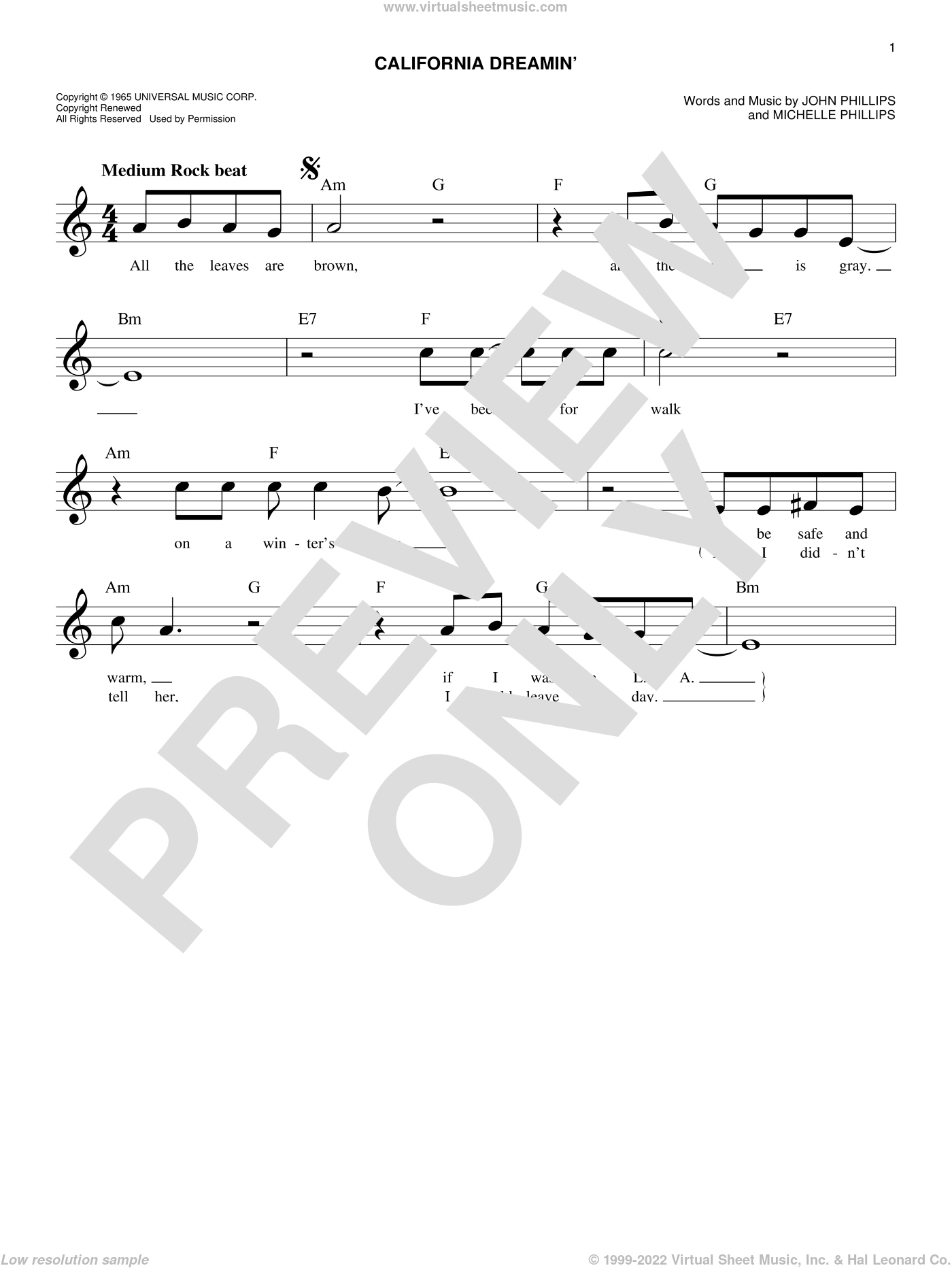 California Dreamin' sheet music for voice and other instruments (fake book) by The Mamas & The Papas, John Phillips and Michelle Phillips, intermediate skill level