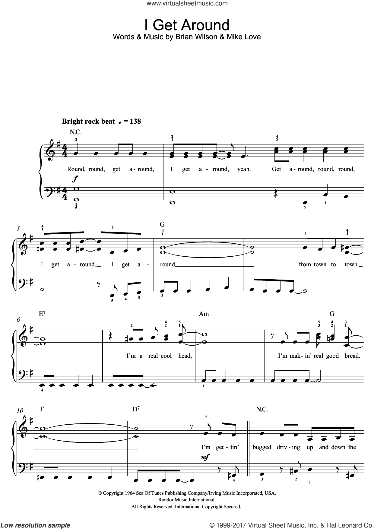 I Get Around sheet music for piano solo (beginners) by The Beach Boys and Brian Wilson, beginner piano (beginners). Score Image Preview.