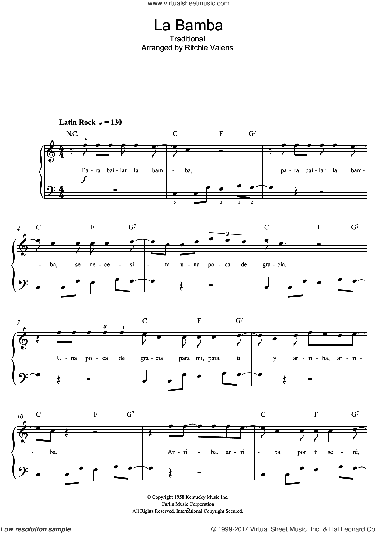La Bamba sheet music for piano solo (beginners)  and Ritchie Valens. Score Image Preview.