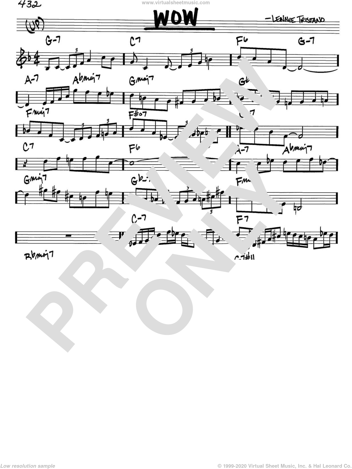 Wow sheet music for voice and other instruments (in C) by Lennie Tristano, intermediate. Score Image Preview.