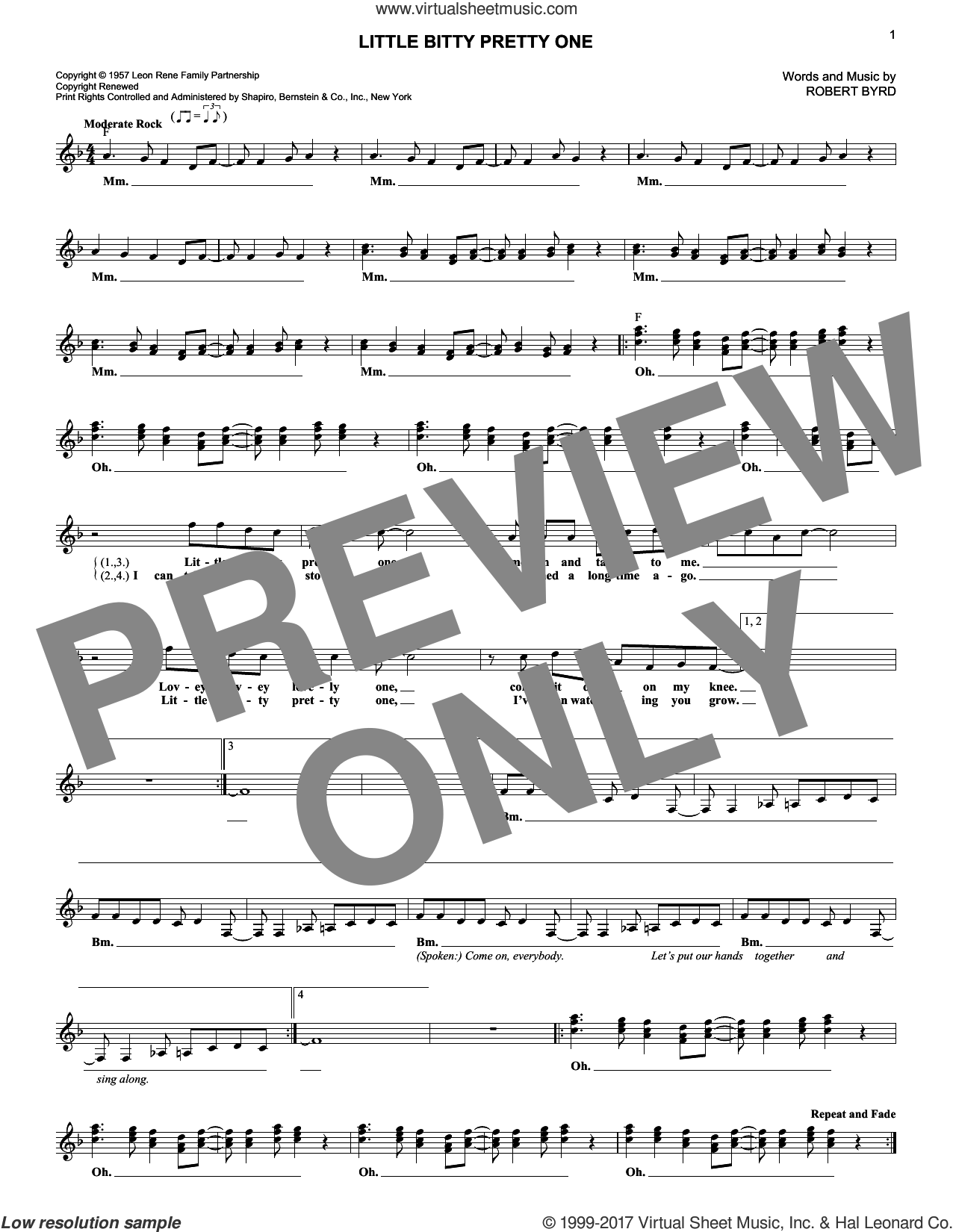 Little Bitty Pretty One sheet music for voice and other instruments (fake book) by Jackson 5, Thurston Harris and Robert Byrd, intermediate skill level