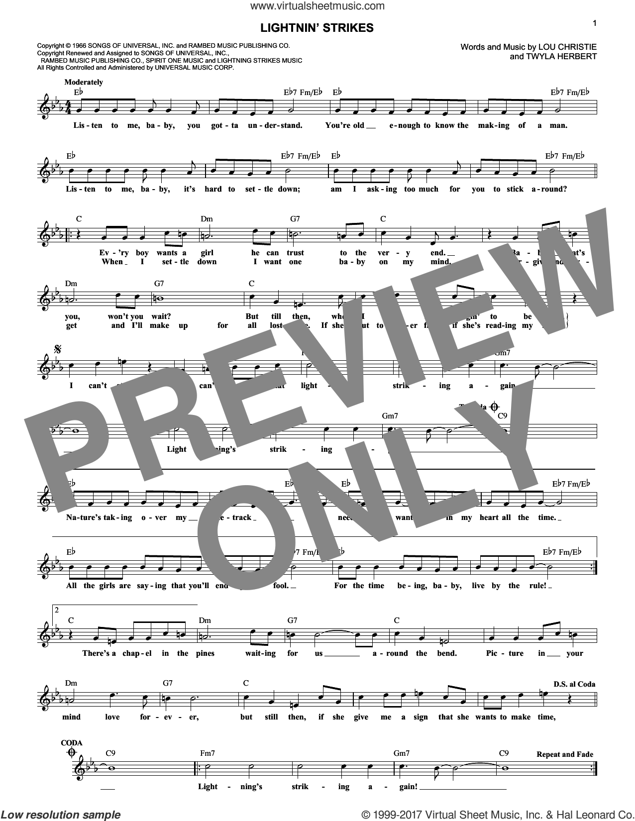 Lightnin' Strikes sheet music for voice and other instruments (fake book) by Lou Christie, intermediate. Score Image Preview.