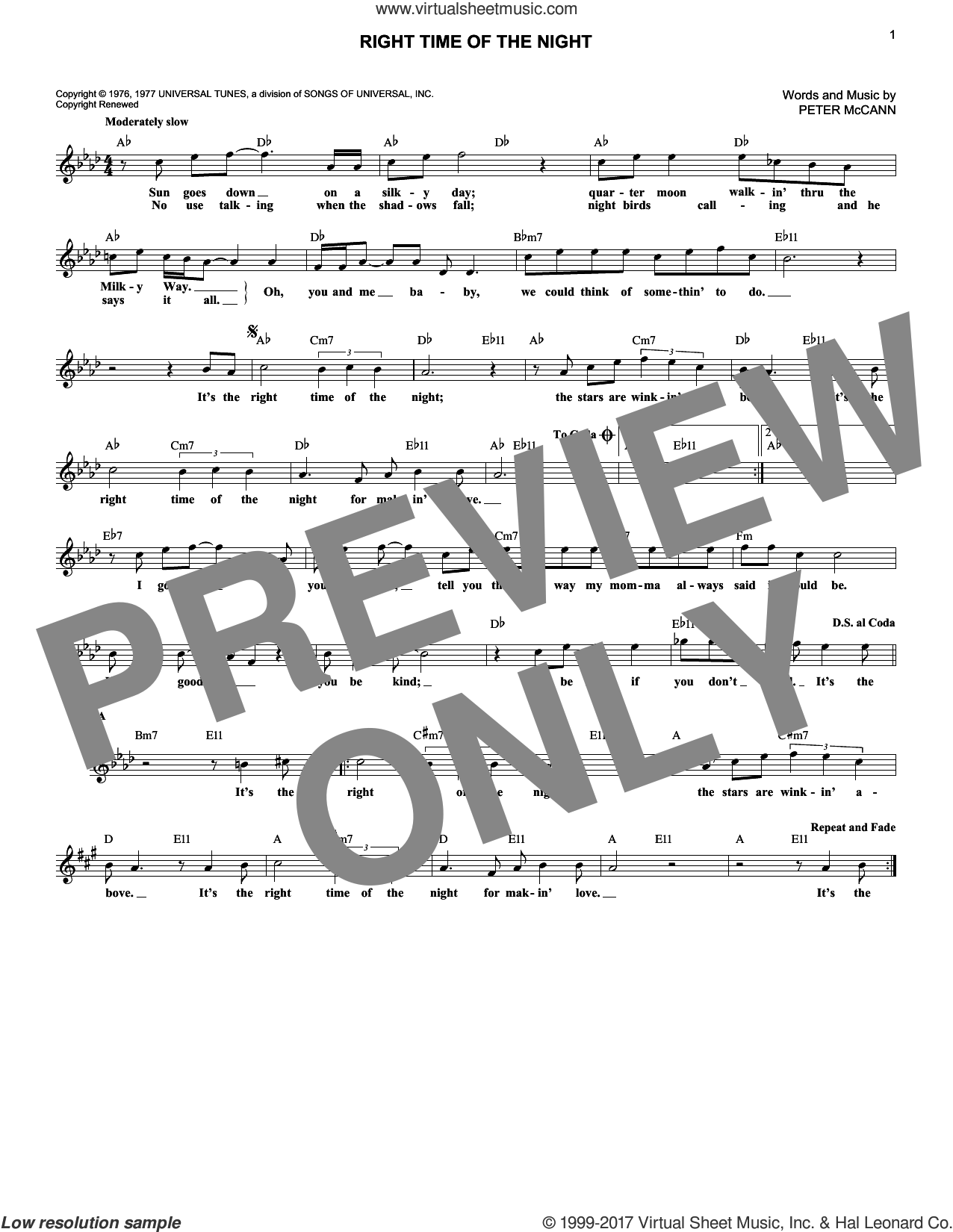 Right Time Of The Night sheet music for voice and other instruments (fake book) by Peter McCann and Jennifer Warnes. Score Image Preview.