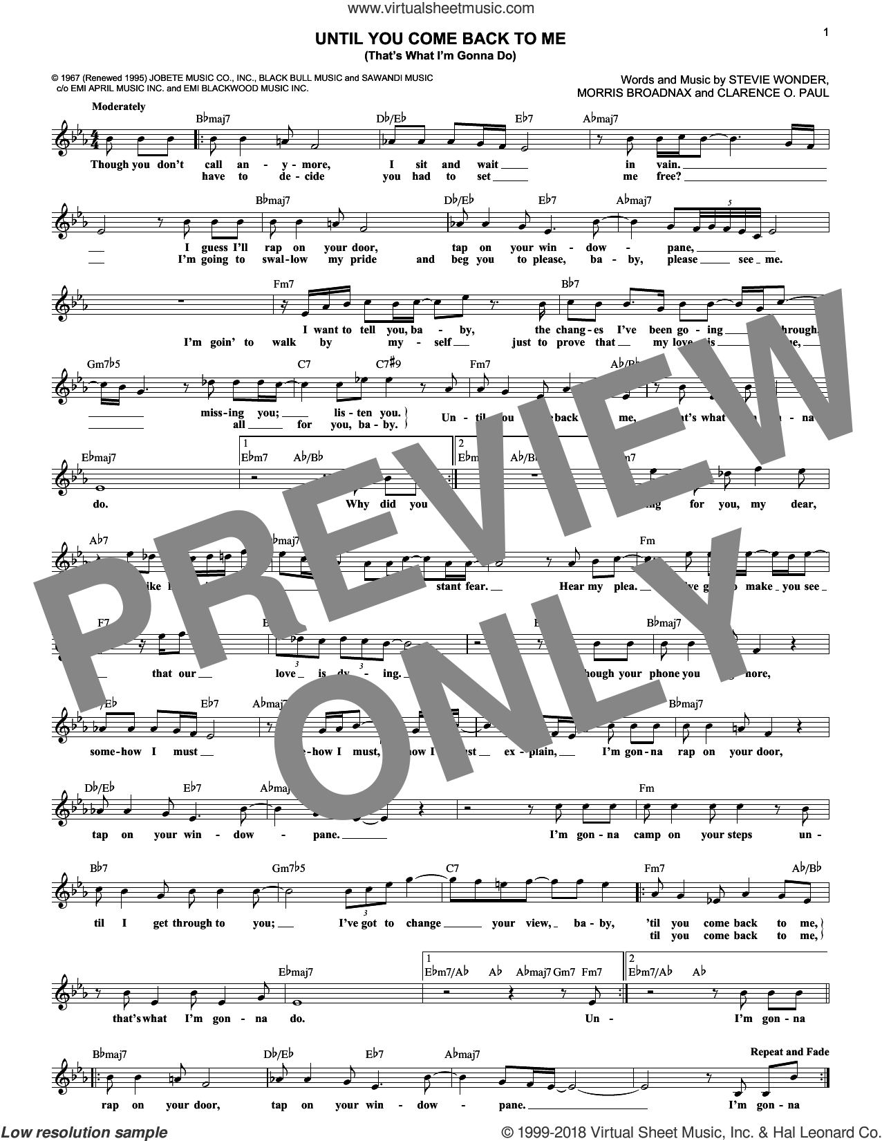 Until You Come Back To Me (That's What I'm Gonna Do) sheet music for voice and other instruments (fake book) by Aretha Franklin, Clarence O. Paul, Morris Broadnax and Stevie Wonder, intermediate skill level
