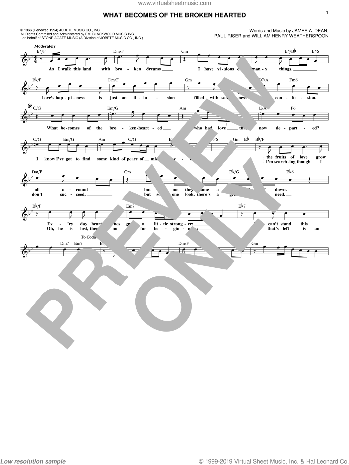 What Becomes Of The Broken Hearted sheet music for voice and other instruments (fake book) by James Dean, Jimmy Ruffin and Paul Young. Score Image Preview.
