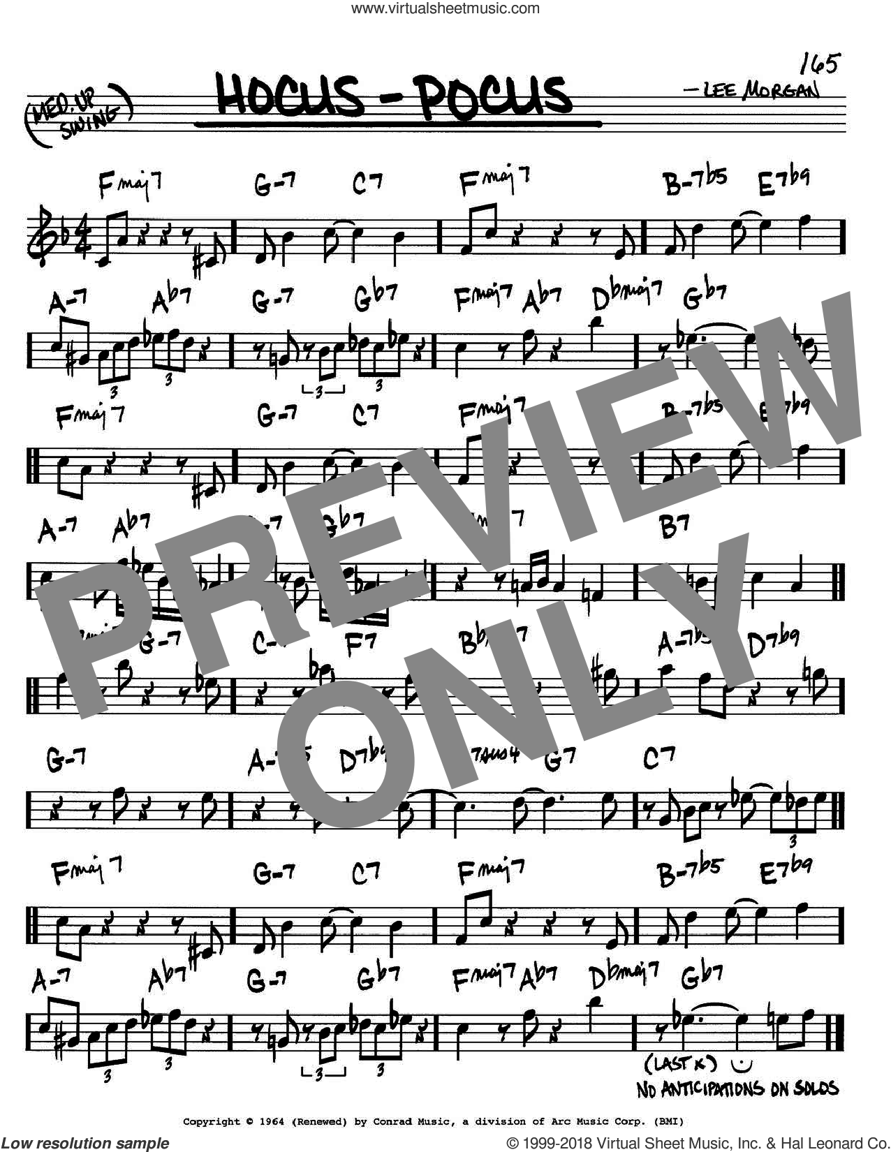 Hocus-Pocus sheet music for voice and other instruments (in C) by Lee Morgan, intermediate skill level