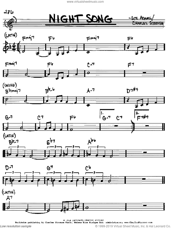 Night Song sheet music for voice and other instruments (in C) by Charles Strouse and Lee Adams, intermediate. Score Image Preview.