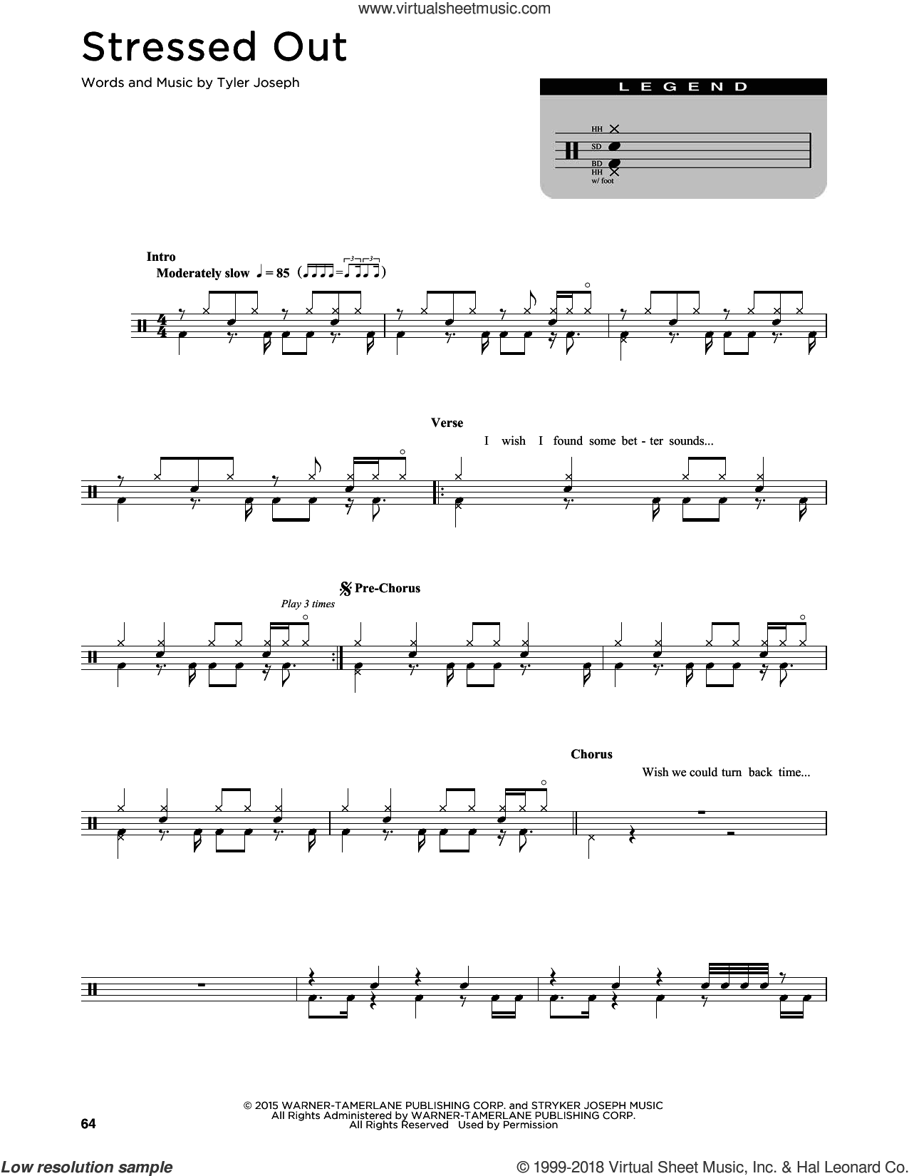Stressed Out sheet music for drums (percussions) by Twenty One Pilots and Tyler Joseph, intermediate skill level