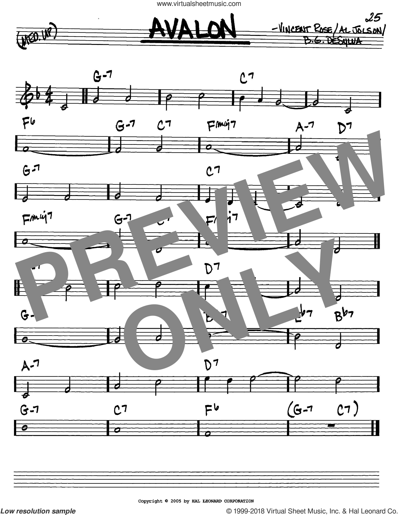 Avalon sheet music for voice and other instruments (in C) by Al Jolson, Buddy DeSylva and Vincent Rose, intermediate skill level