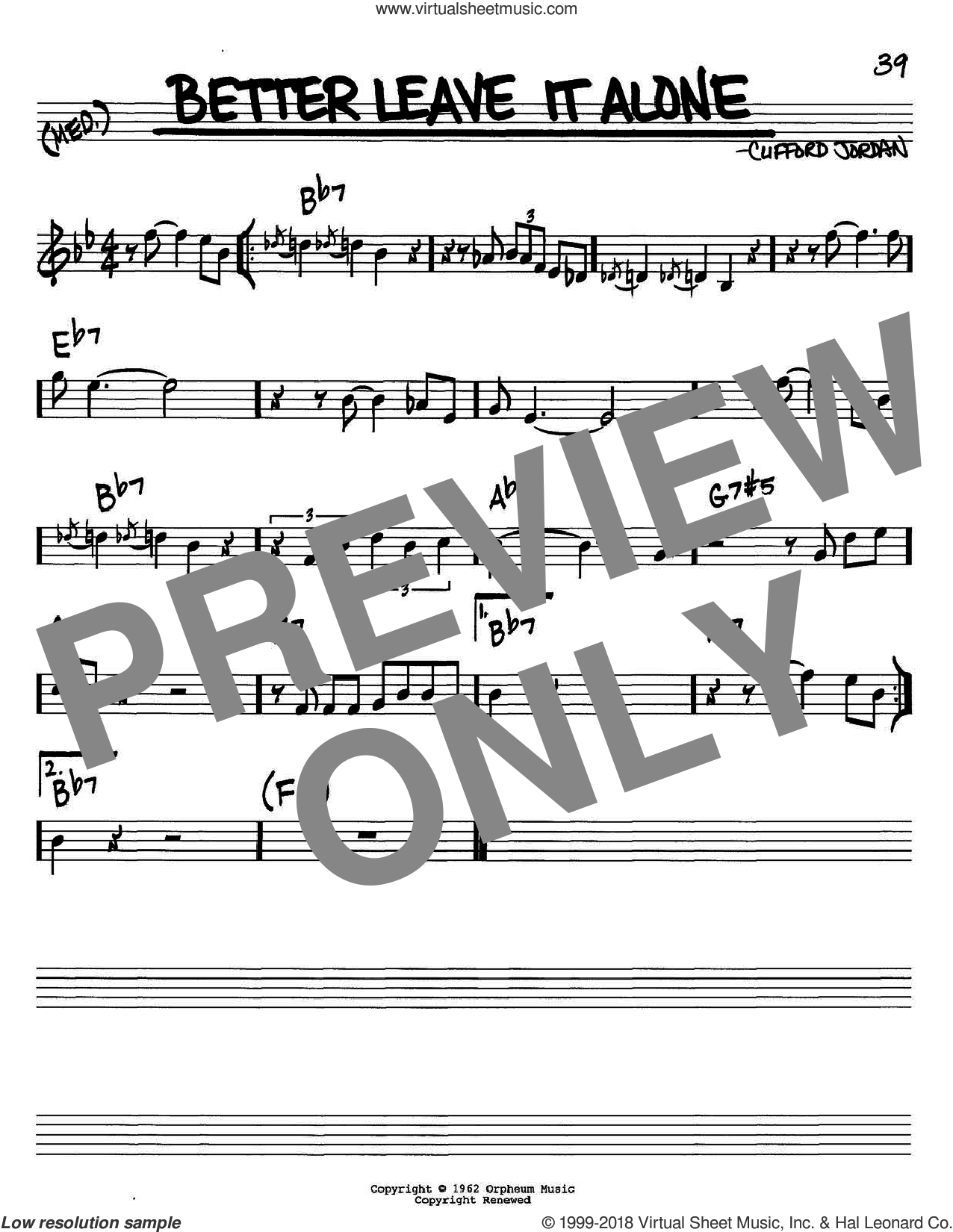 Better Leave It Alone sheet music for voice and other instruments (C) by Clifford Jordan. Score Image Preview.