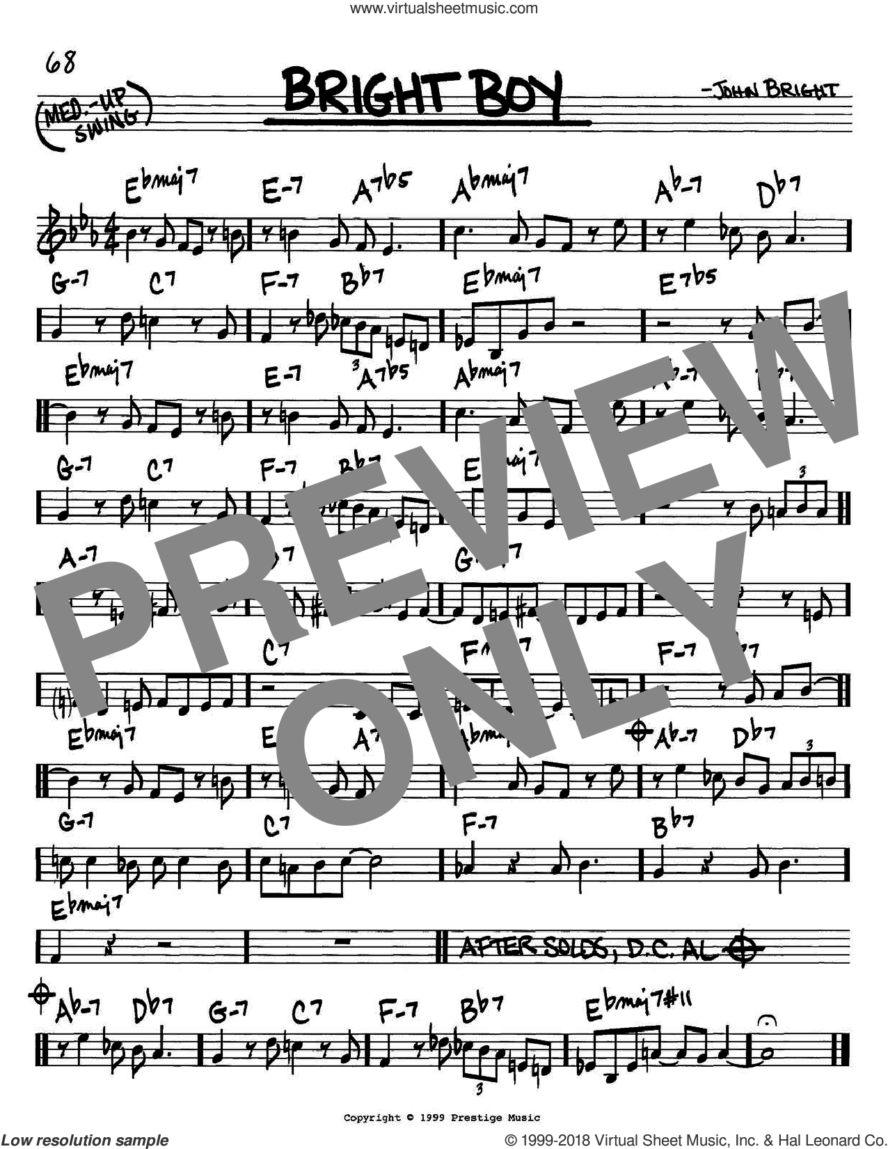 Bright Boy sheet music for voice and other instruments (C) by John Bright. Score Image Preview.