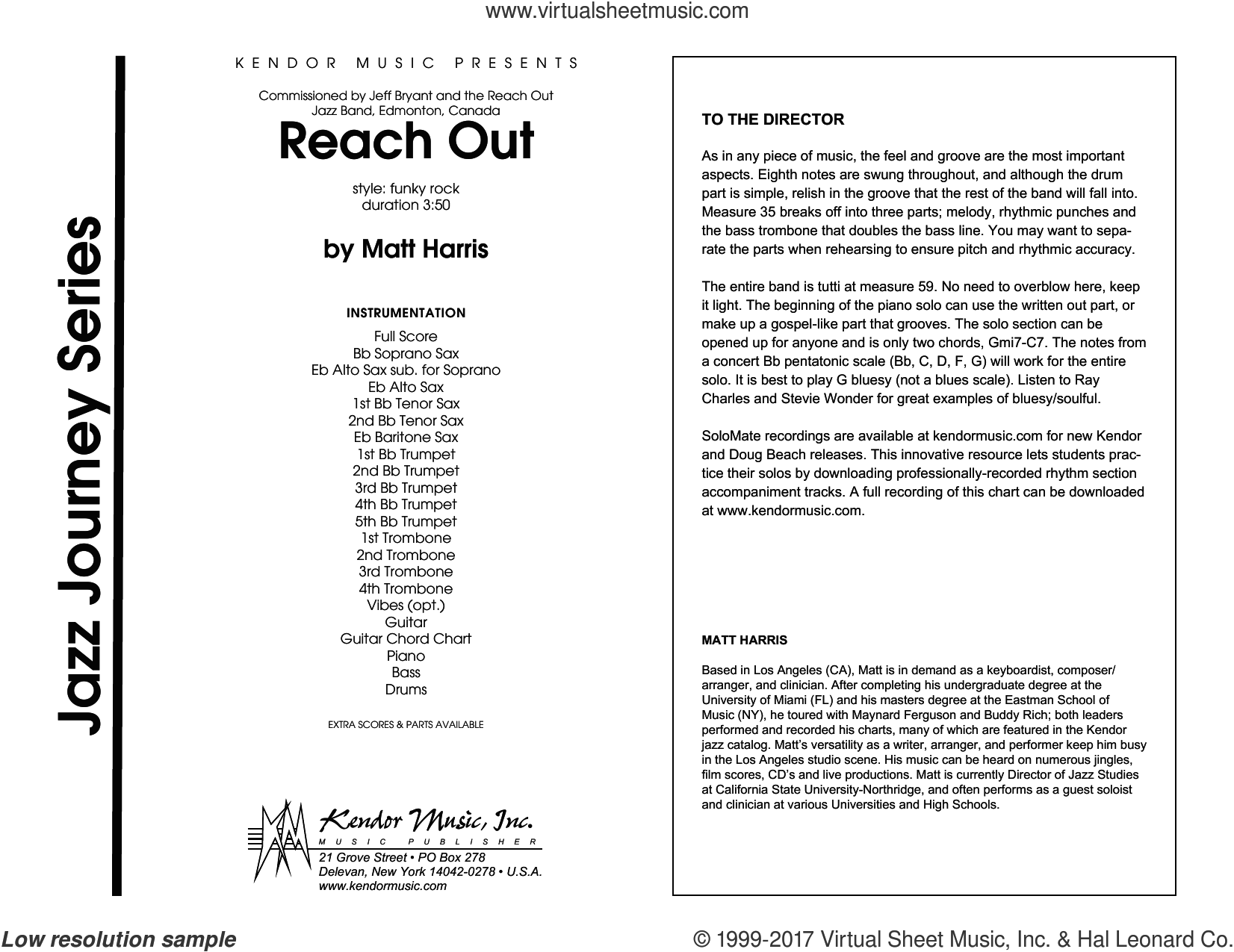 Reach Out (COMPLETE) sheet music for jazz band by Matt Harris, intermediate skill level