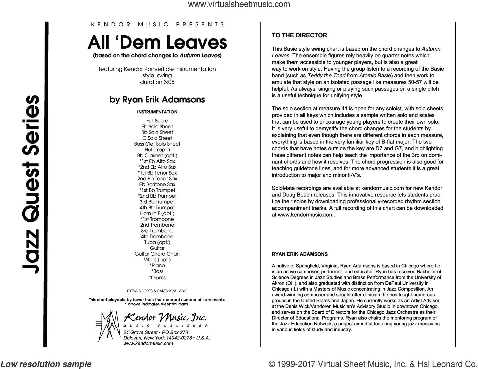 All 'Dem Leaves (based on the chord changes to Autumn Leaves) (COMPLETE) sheet music for jazz band by Ryan Erik Adamsons, intermediate