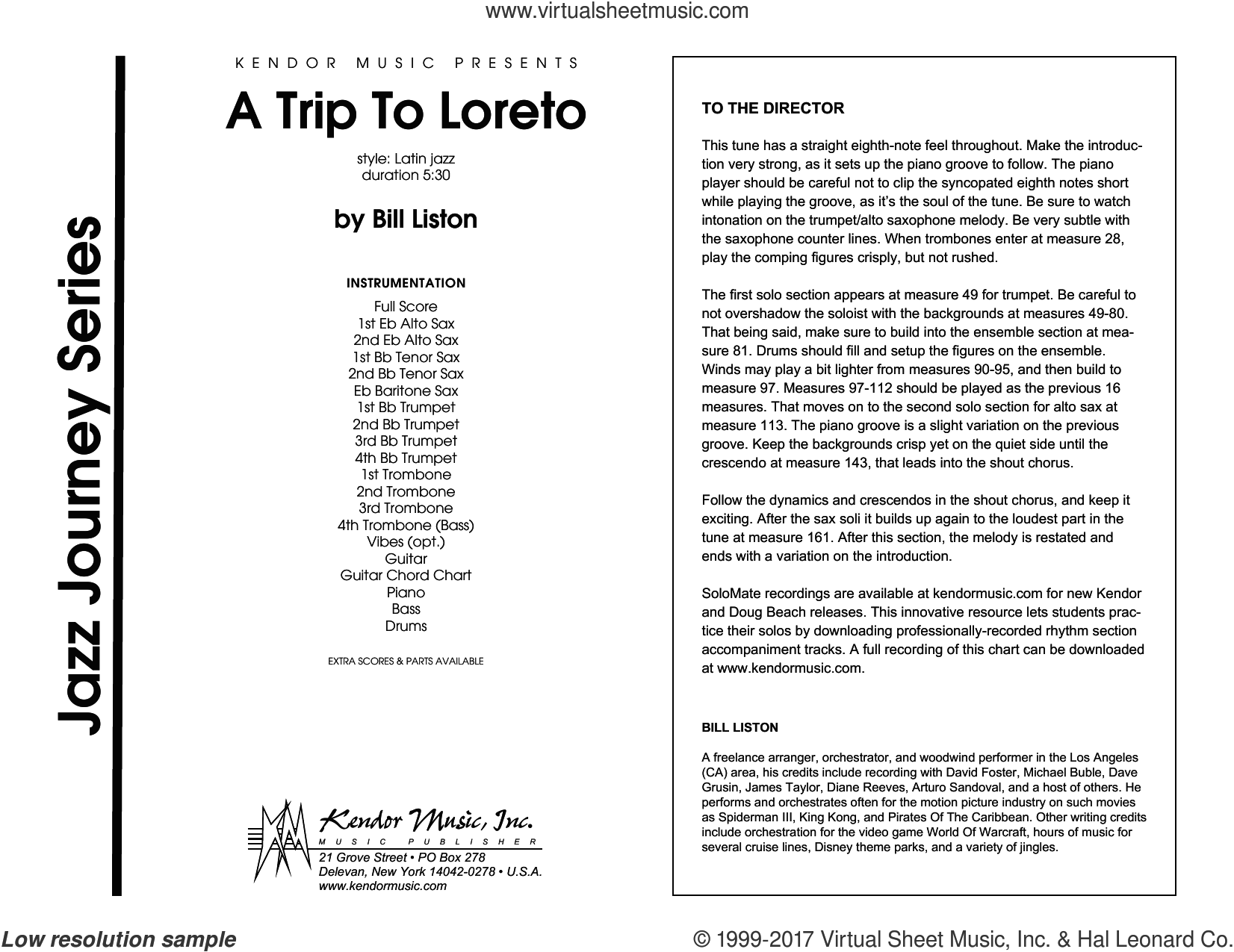 A Trip To Loreto (COMPLETE) sheet music for jazz band by Bill Liston, intermediate jazz band. Score Image Preview.