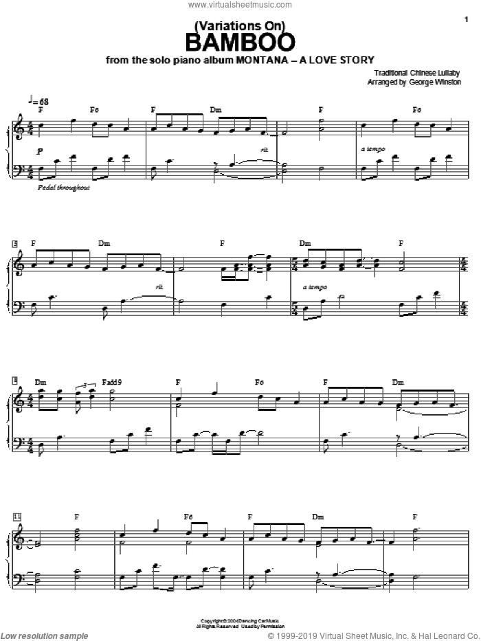 (Variations On) Bamboo sheet music for piano solo by George Winston. Score Image Preview.