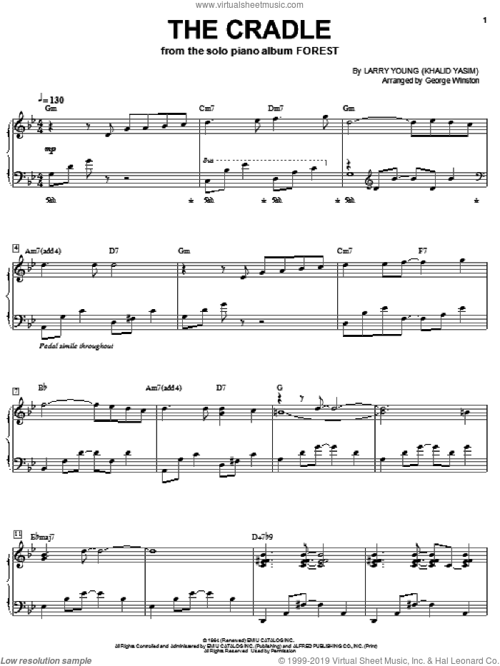 The Cradle sheet music for piano solo by Larry Young