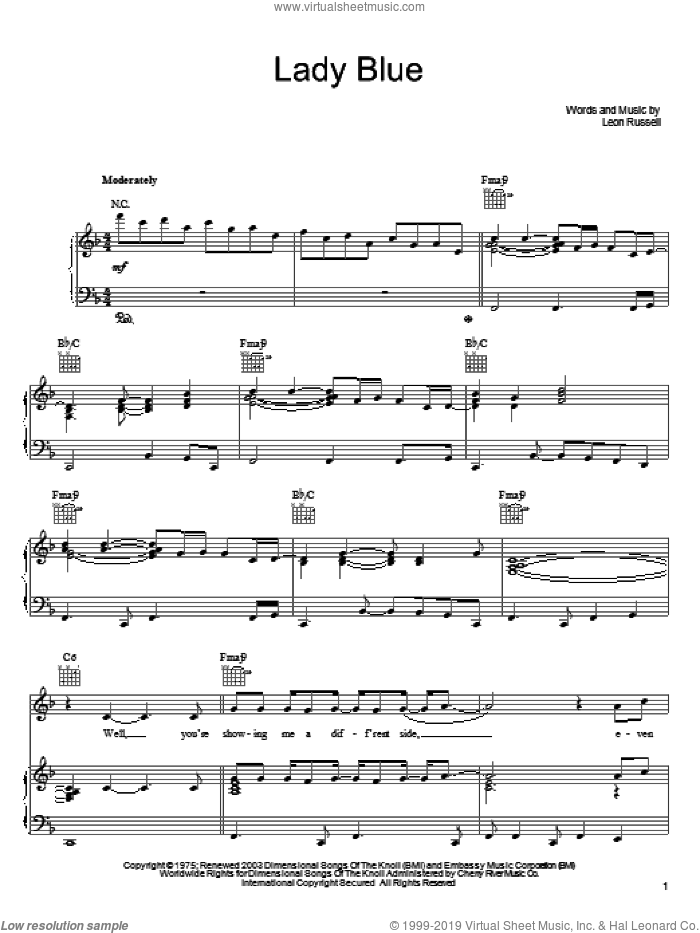 Lady Blue sheet music for voice, piano or guitar by Leon Russell and George Benson, intermediate skill level