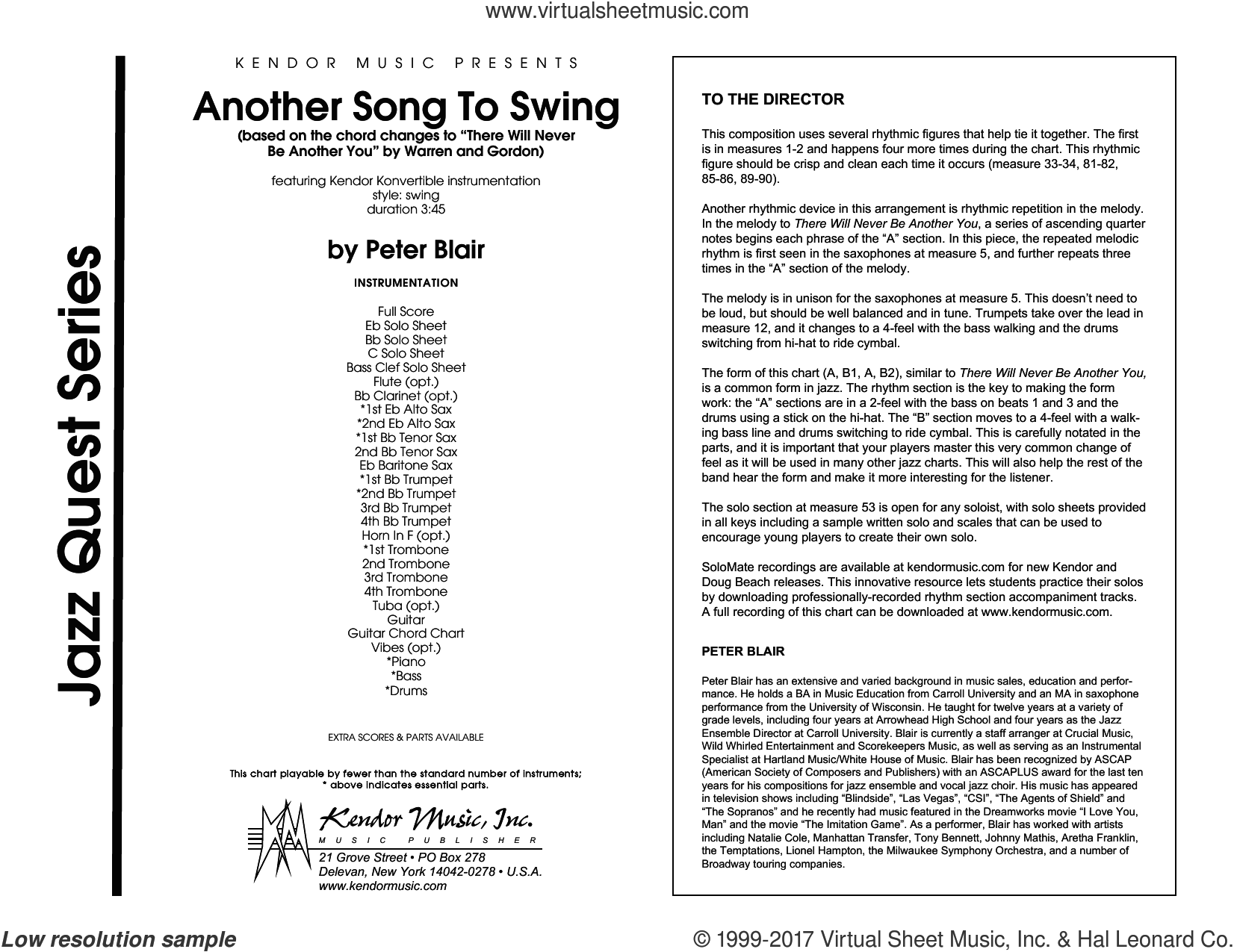 Another Song To Swing (COMPLETE) sheet music for jazz band by Peter Blair, intermediate. Score Image Preview.