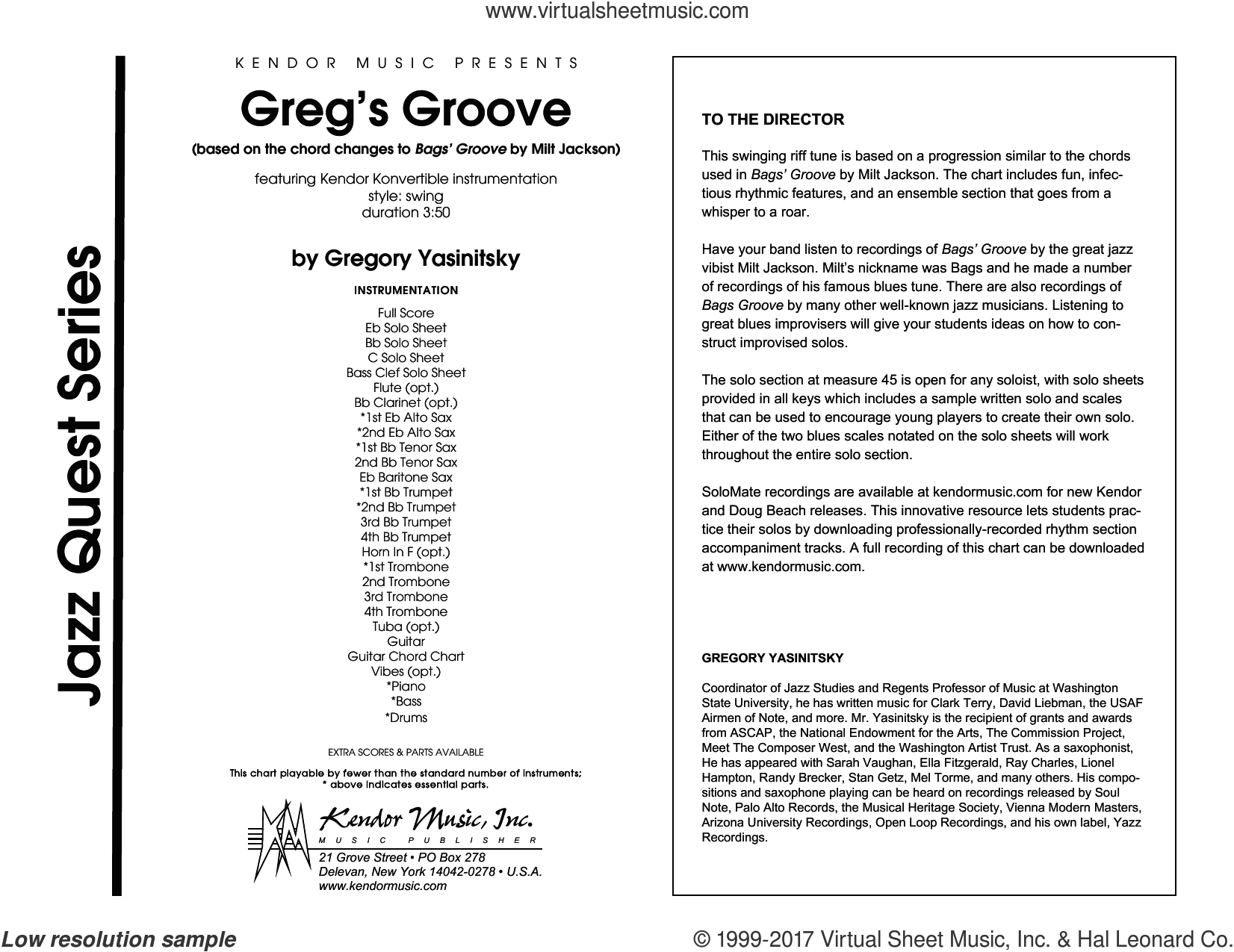 Greg's Groove (COMPLETE) sheet music for jazz band by Gregory Yasinitsky, intermediate. Score Image Preview.