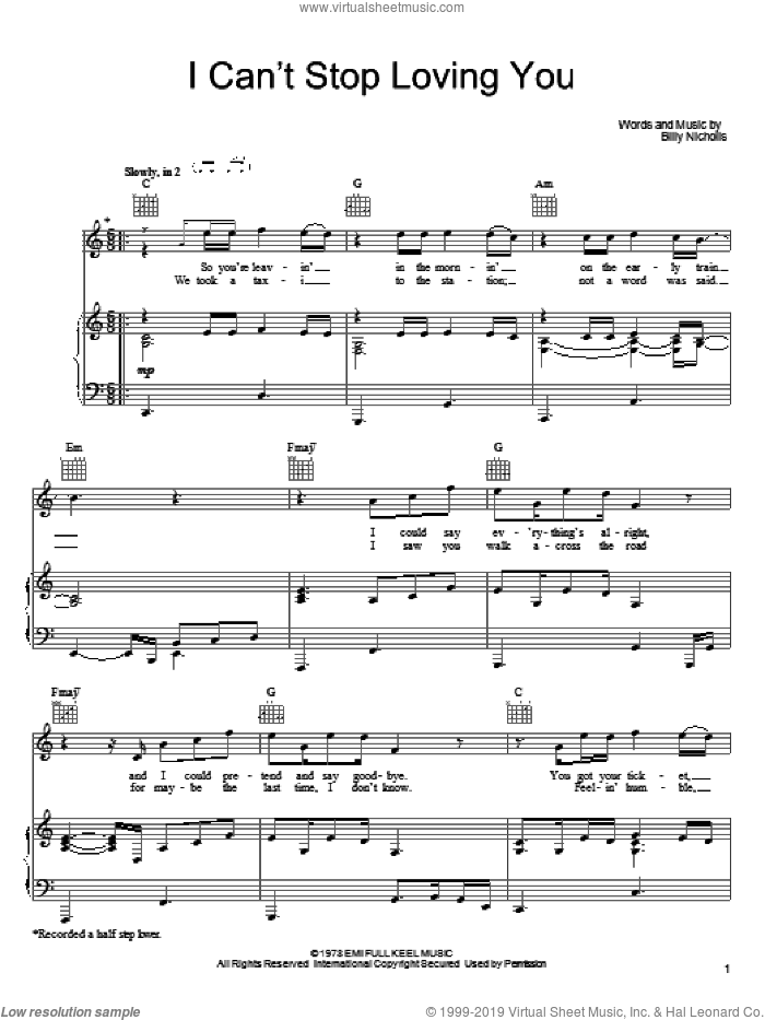 Can't Stop Loving You (Though I Try) sheet music for voice, piano or guitar by Keith Urban, Leo Sayer, Phil Collins and Billy Nicholls, intermediate skill level