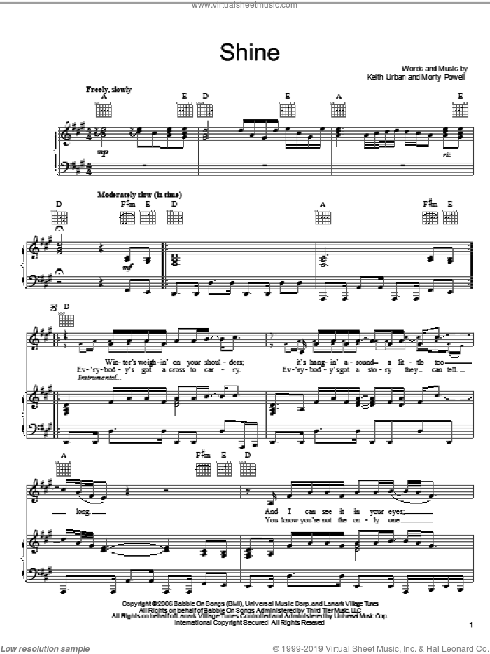 Shine sheet music for voice, piano or guitar by Keith Urban, intermediate. Score Image Preview.