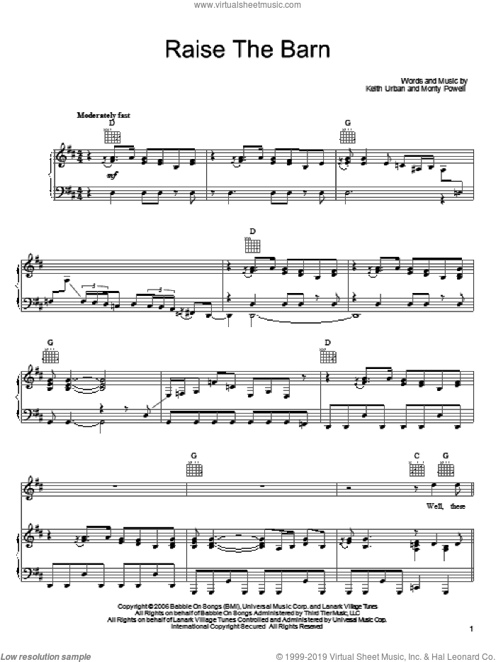 Raise The Barn sheet music for voice, piano or guitar by Keith Urban featuring Ronnie Dunn, Ronnie Dunn, Keith Urban and Monty Powell, intermediate. Score Image Preview.