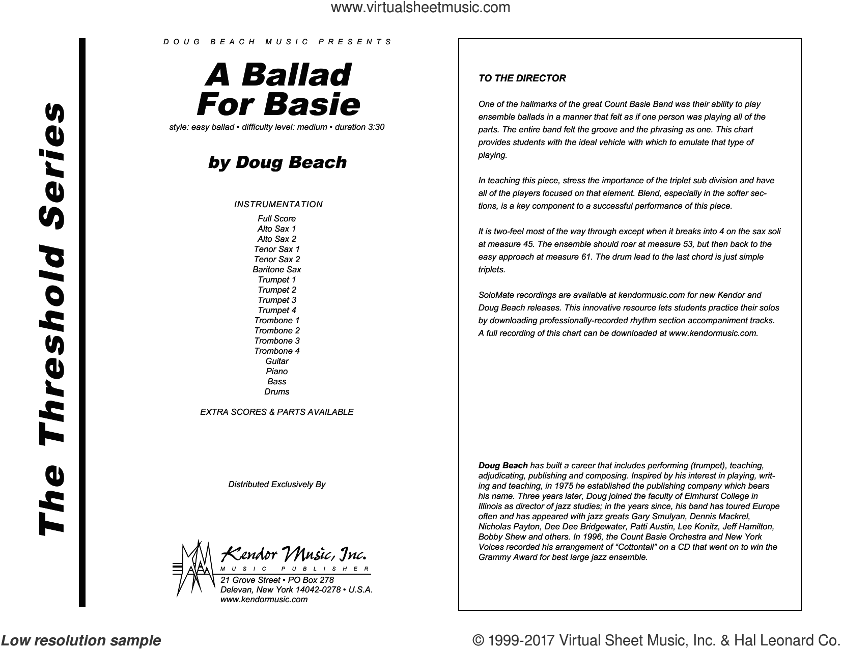A Ballad For Basie (COMPLETE) sheet music for jazz band by Doug Beach, intermediate. Score Image Preview.