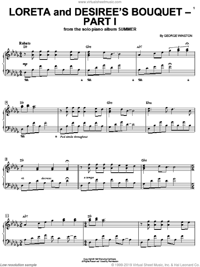 Loreta And Desiree's Bouquet-Part 1 sheet music for piano solo by George Winston, intermediate piano. Score Image Preview.