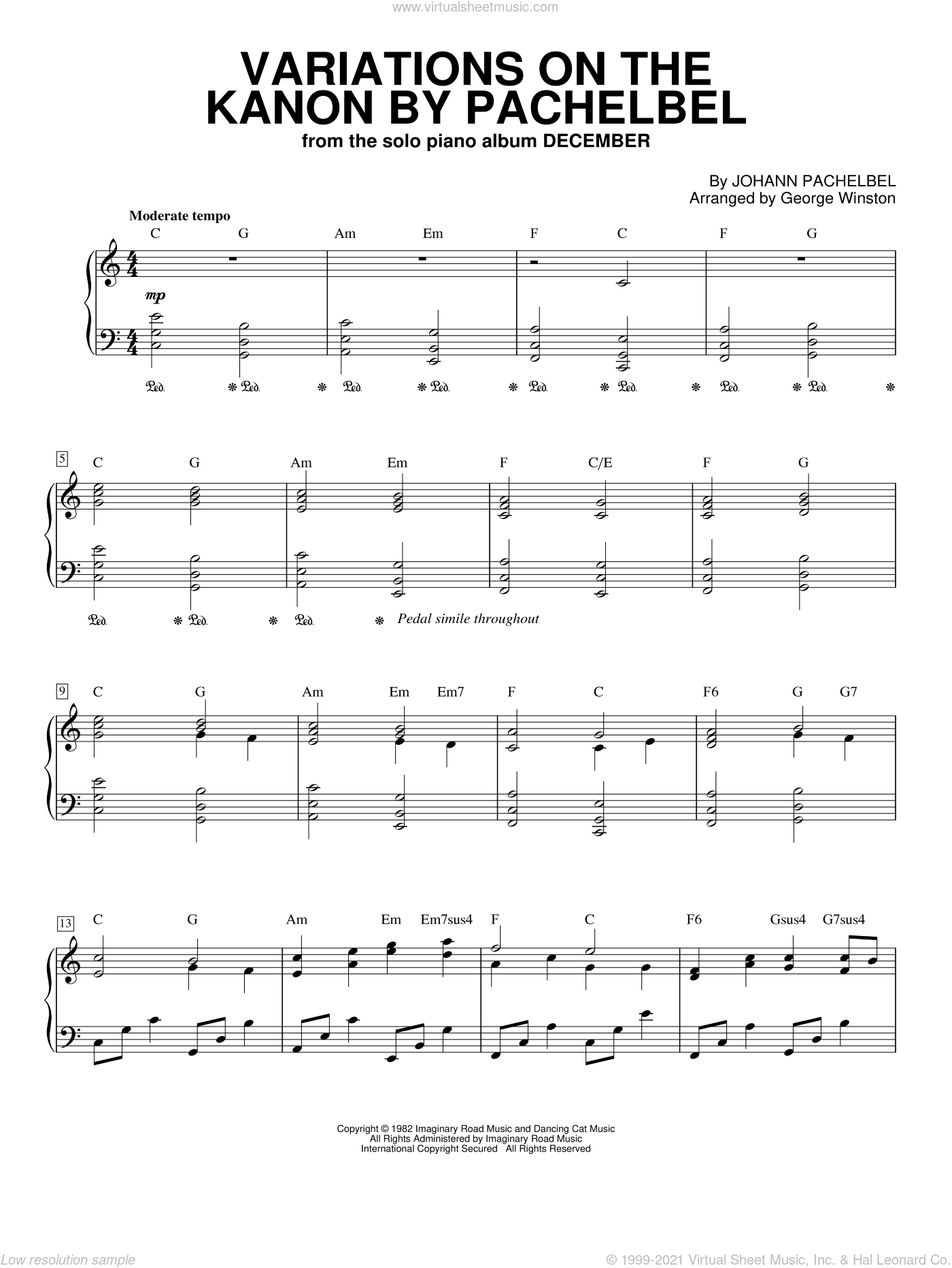 Variations On The Kanon By Pachelbel sheet music for piano solo by George Winston and Johann Pachelbel, classical Christmas carol score, intermediate piano. Score Image Preview.