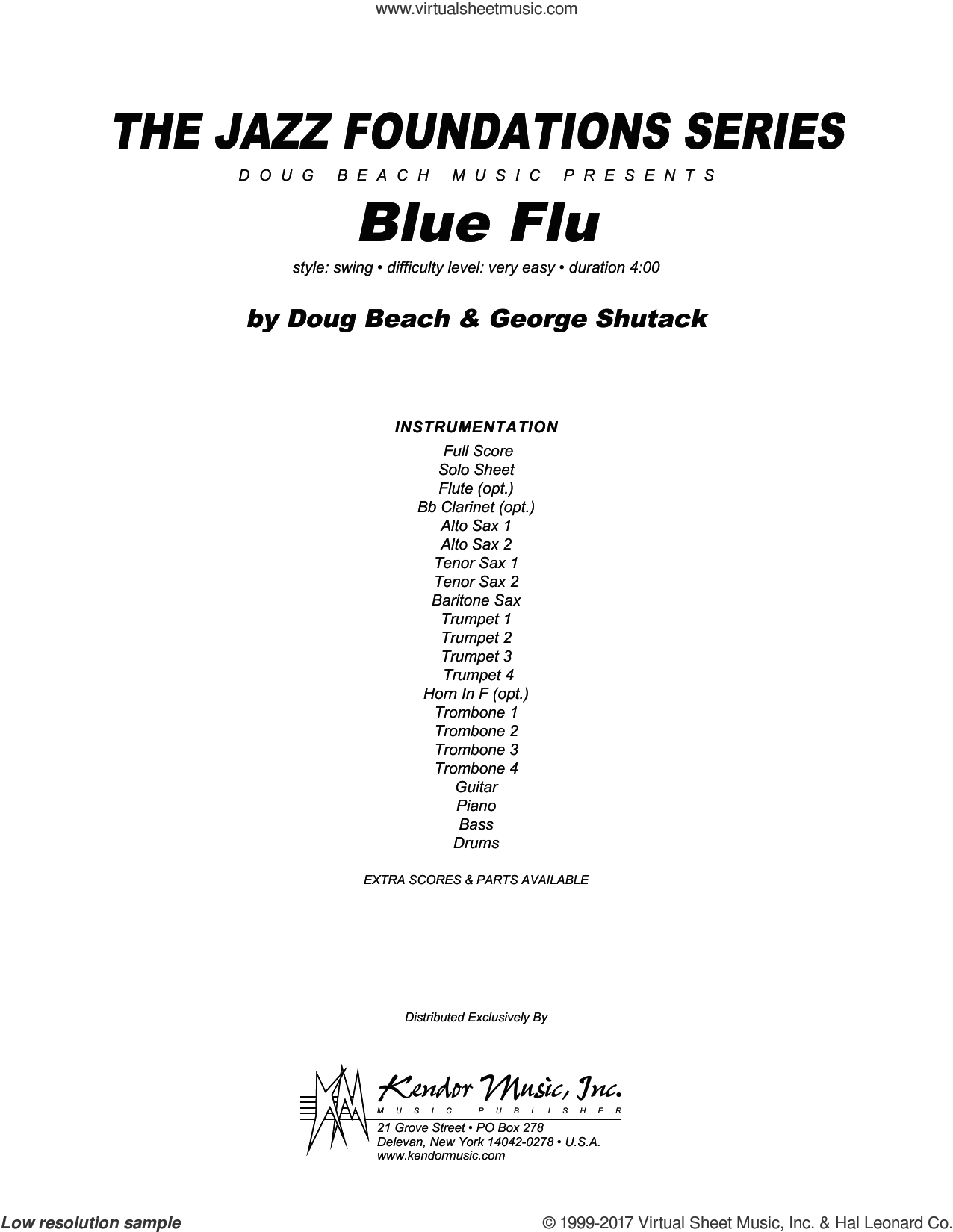 Blue Flu (COMPLETE) sheet music for jazz band by Doug Beach & George Shutack, intermediate. Score Image Preview.