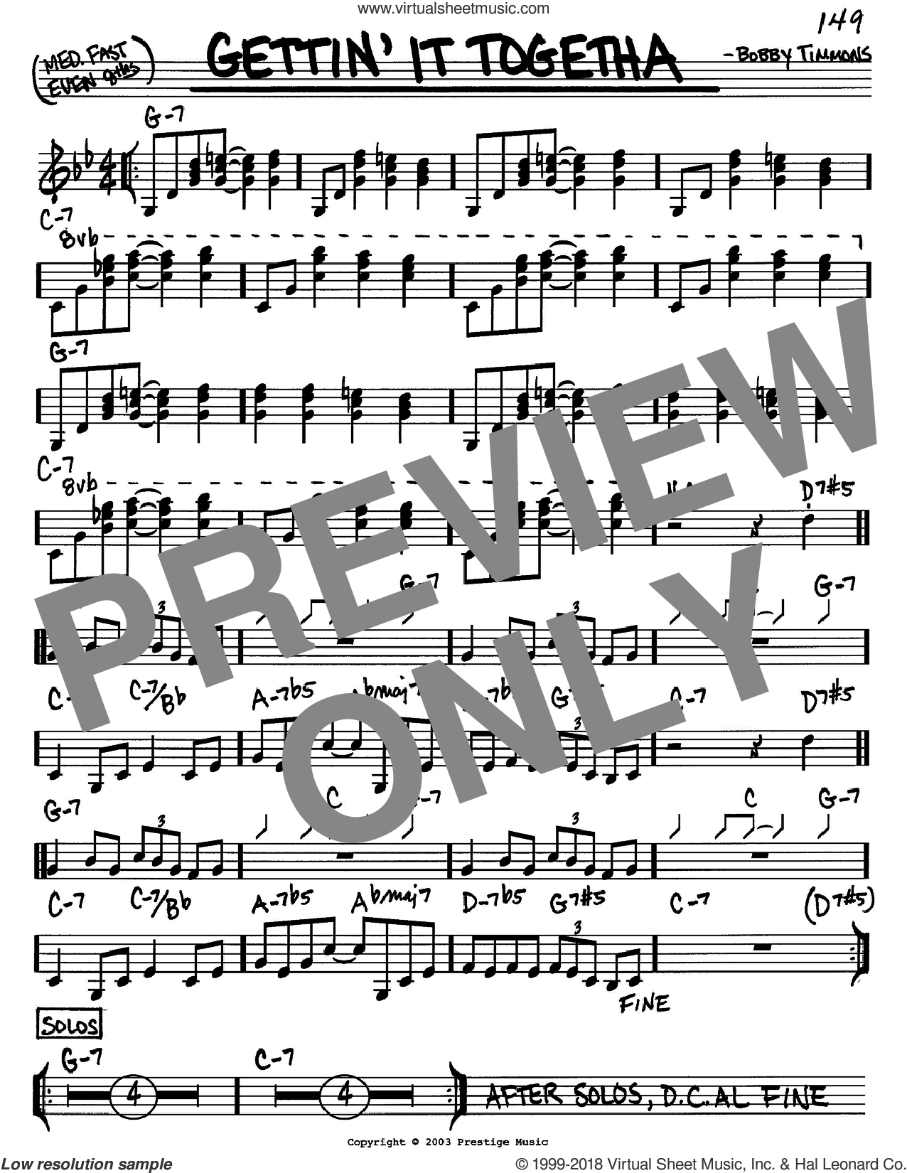 Gettin' It Togetha sheet music for voice and other instruments (in C) by Bobby Timmons, intermediate skill level