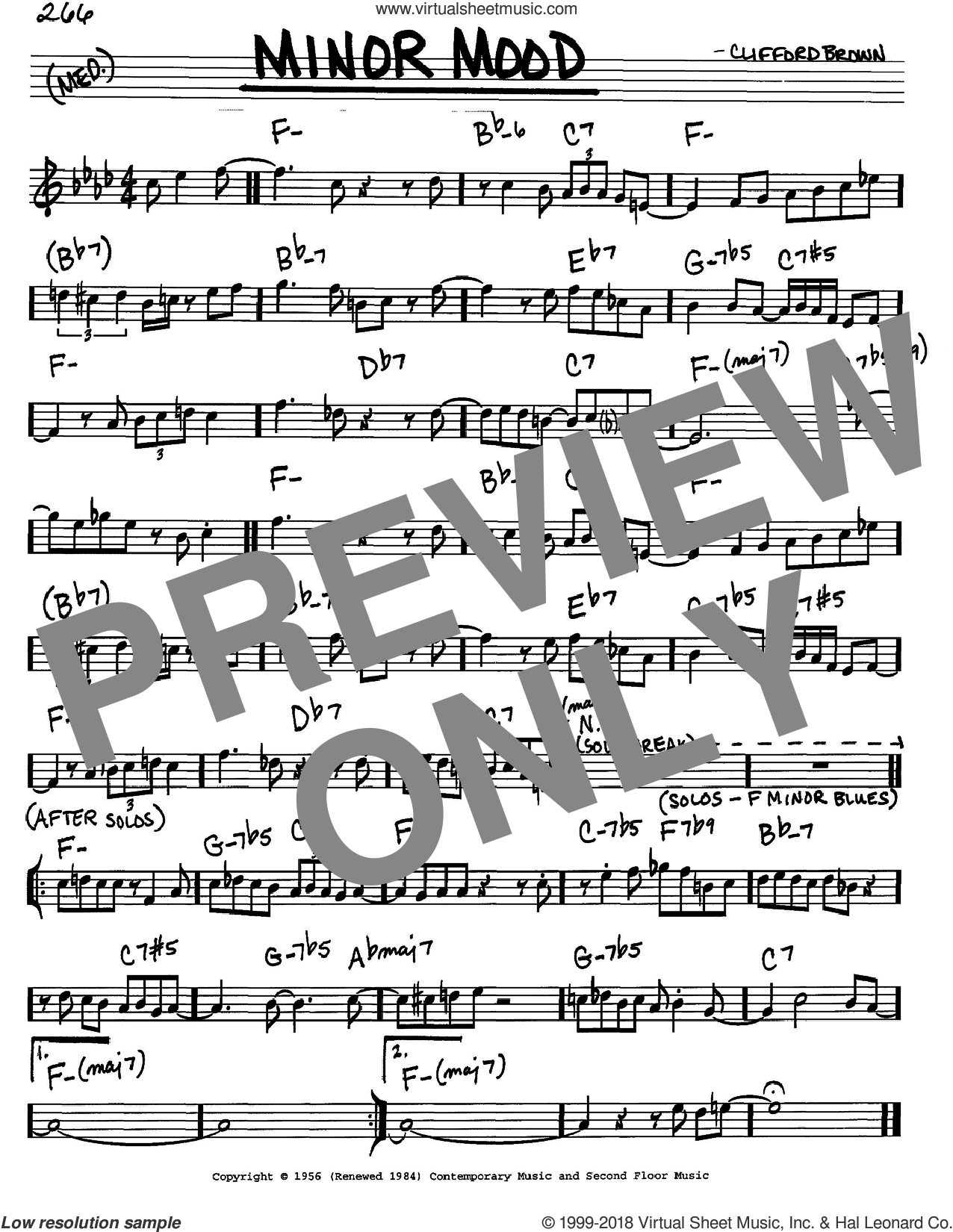 Minor Mood sheet music for voice and other instruments (C) by Clifford Brown