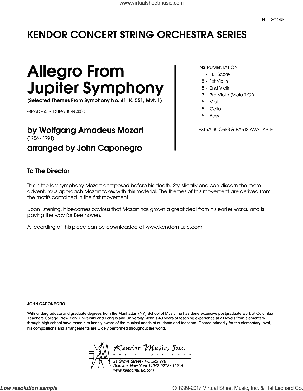 Allegro From Jupiter Symphony (COMPLETE) sheet music for orchestra by John Caponegro and Wolfgang Amadeus Mozart, classical score, intermediate skill level
