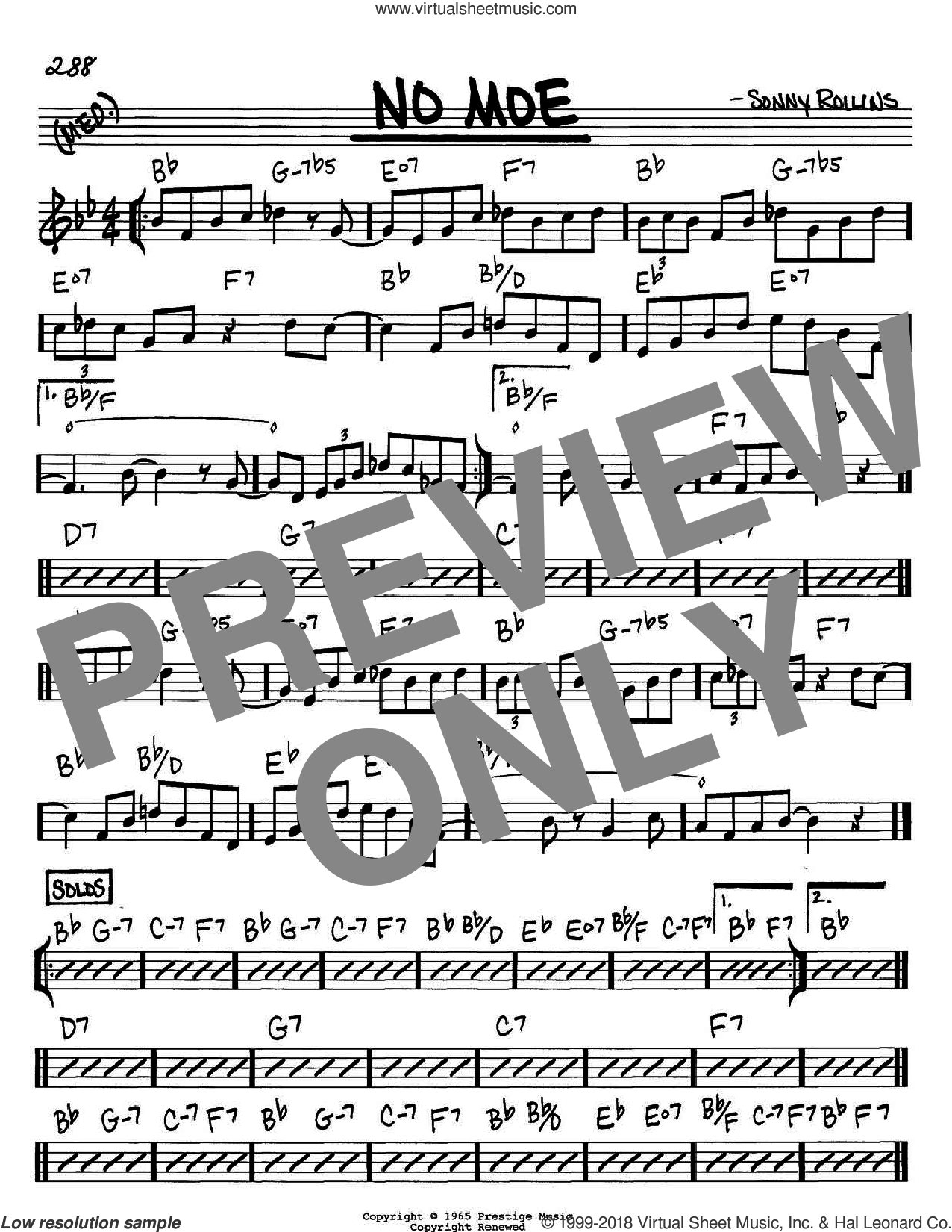 No Moe sheet music for voice and other instruments (C) by Sonny Rollins