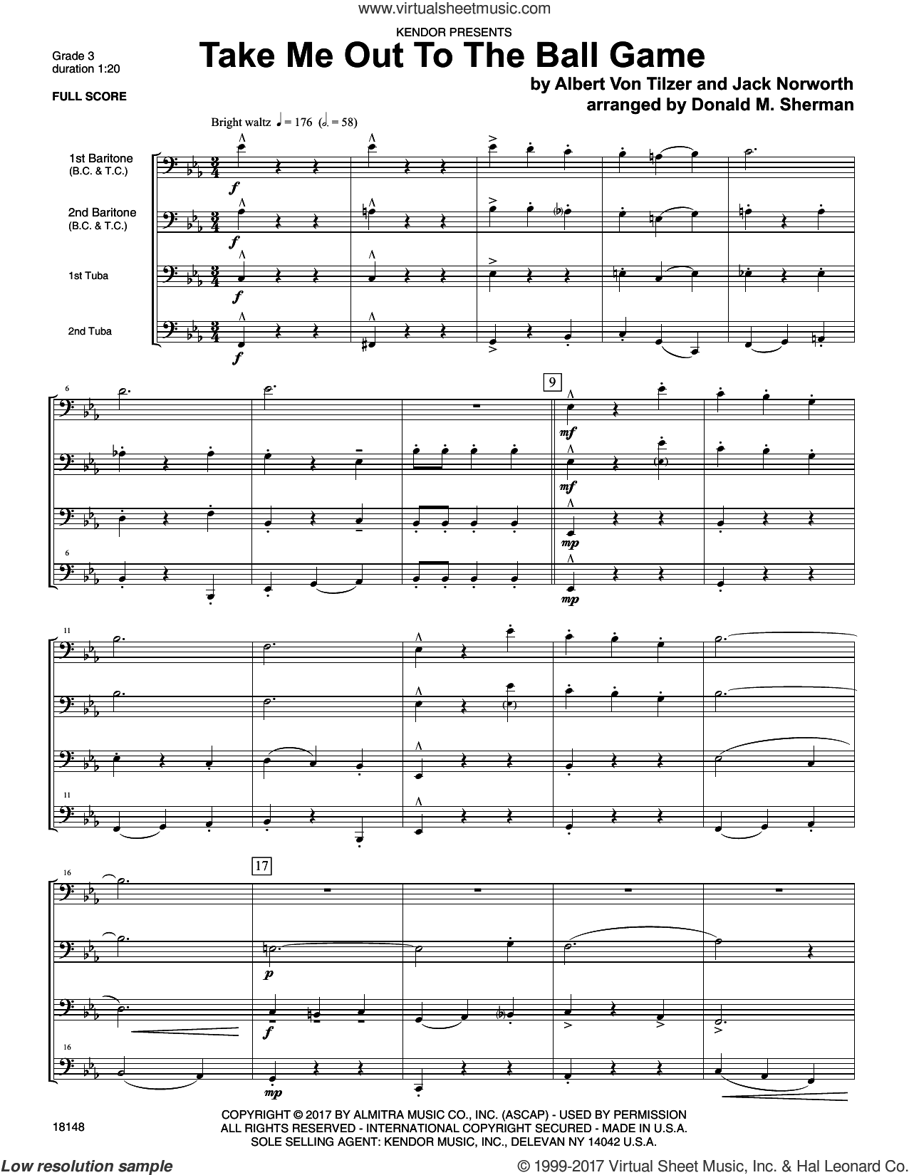 Take Me Out To The Ball Game (COMPLETE) sheet music for brass ensemble by Donald M. Sherman and Von Tilzer & Norworth, intermediate skill level