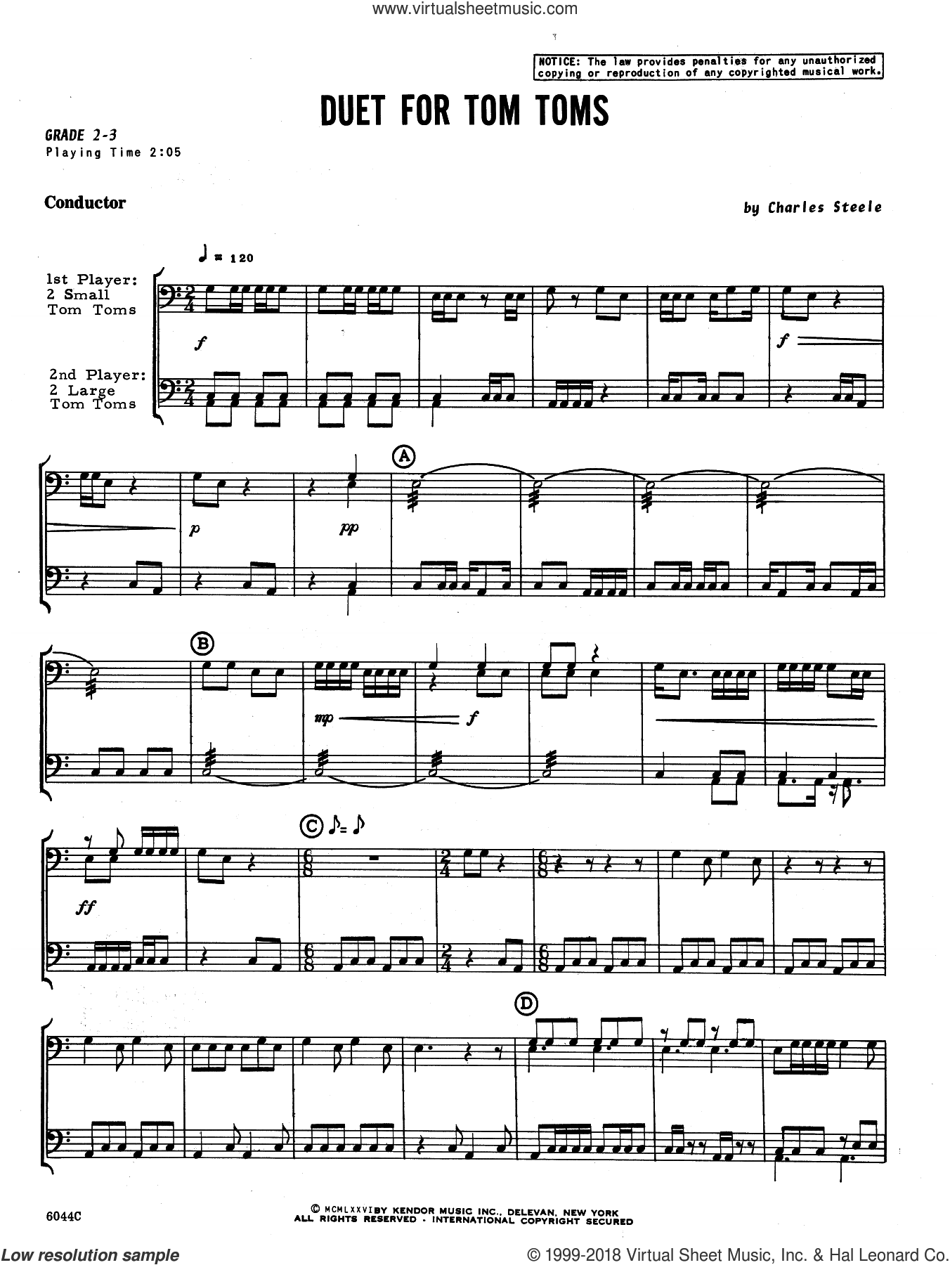 Duet For Tom Toms (COMPLETE) sheet music for percussions by Charles Steele, intermediate