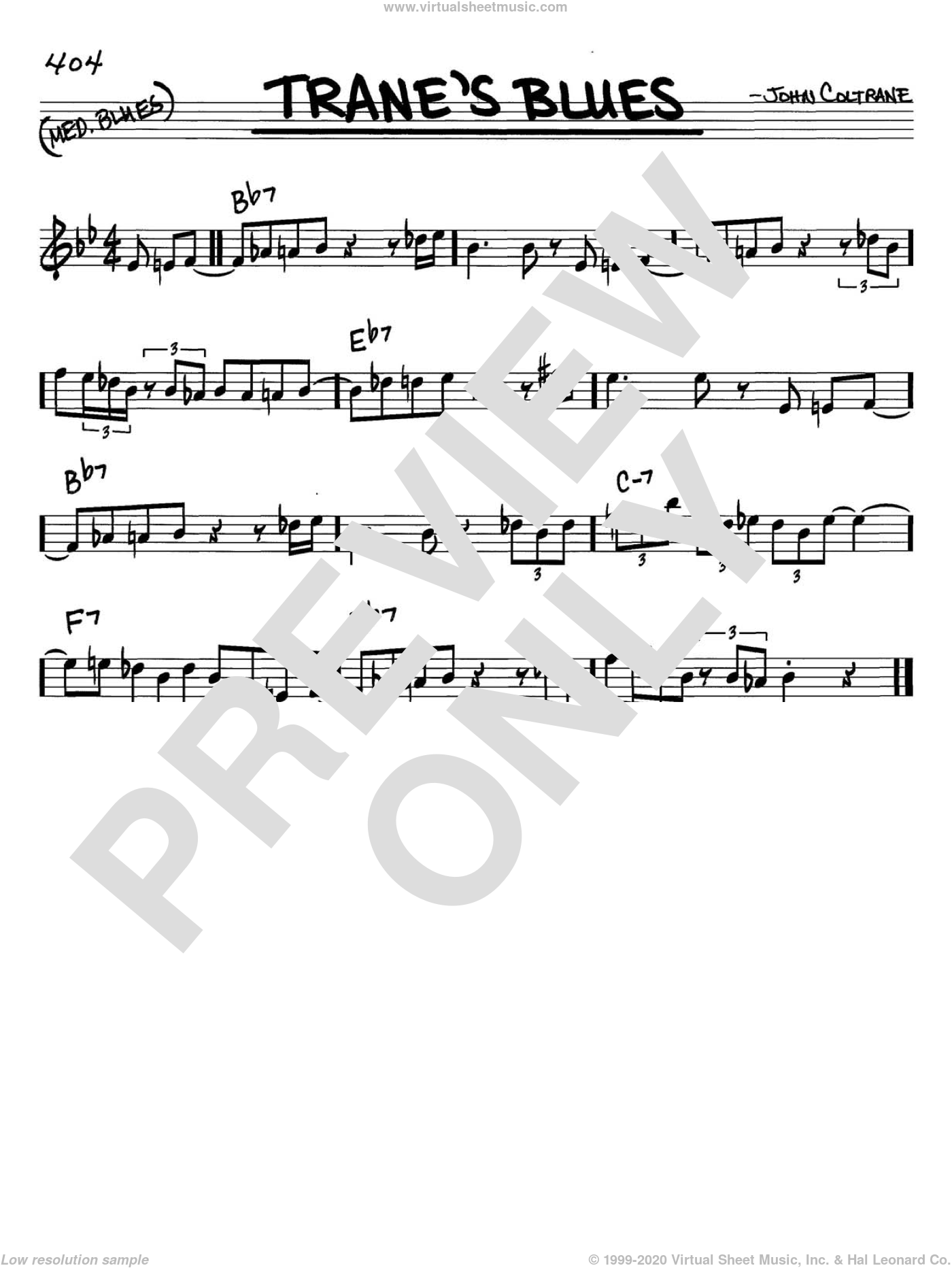 Trane's Blues sheet music for voice and other instruments (C) by John Coltrane, intermediate voice. Score Image Preview.