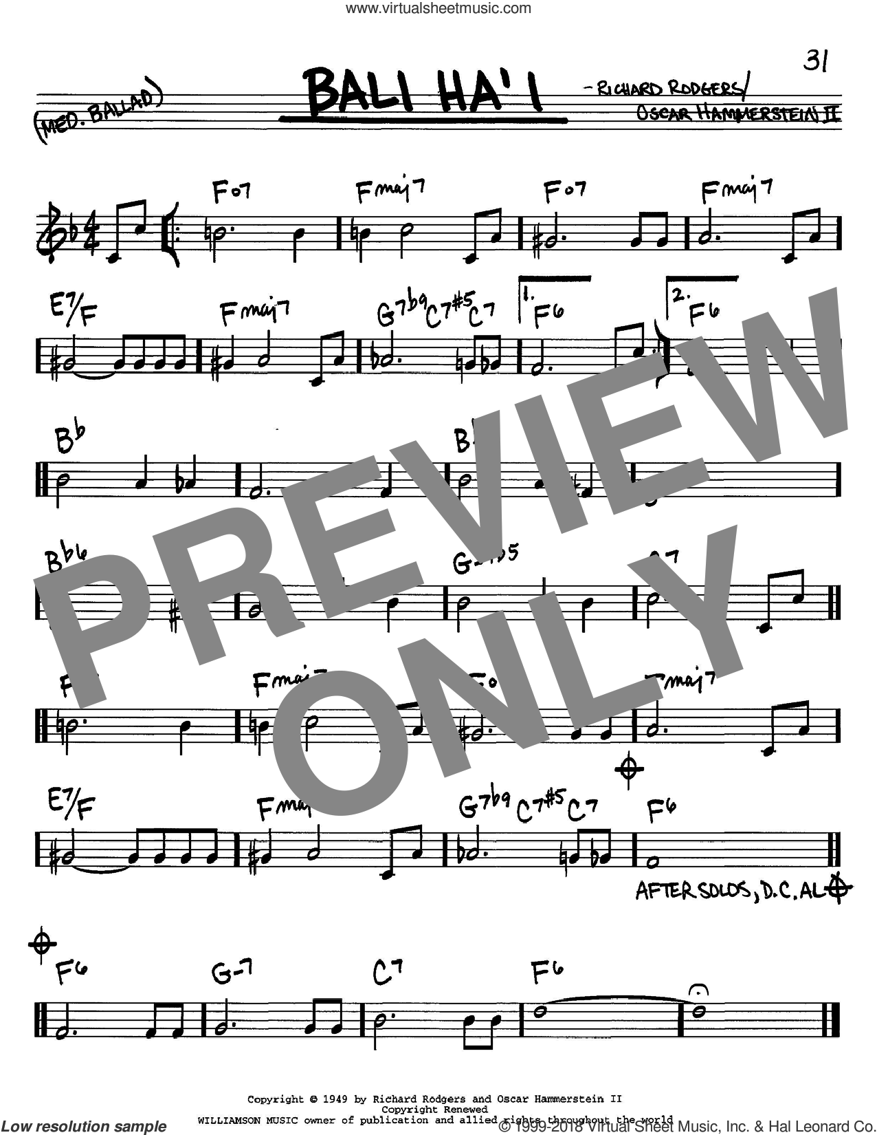 Bali Ha'i sheet music for voice and other instruments (C) by Richard Rodgers, Rodgers & Hammerstein and Oscar II Hammerstein. Score Image Preview.