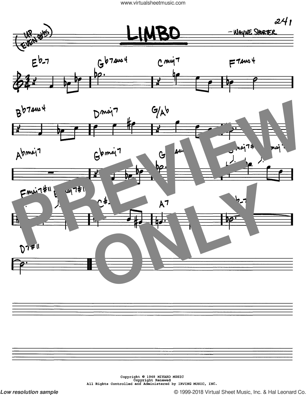 Limbo sheet music for voice and other instruments (C) by Wayne Shorter. Score Image Preview.