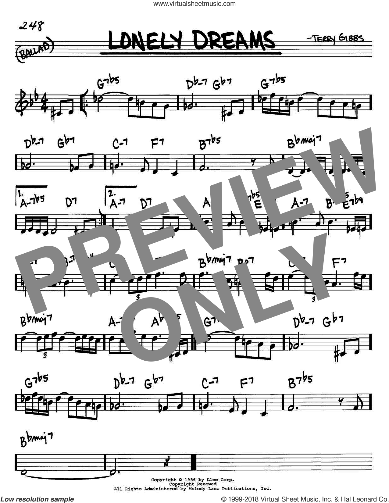 Lonely Dreams sheet music for voice and other instruments (in C) by Terry Gibbs, intermediate skill level