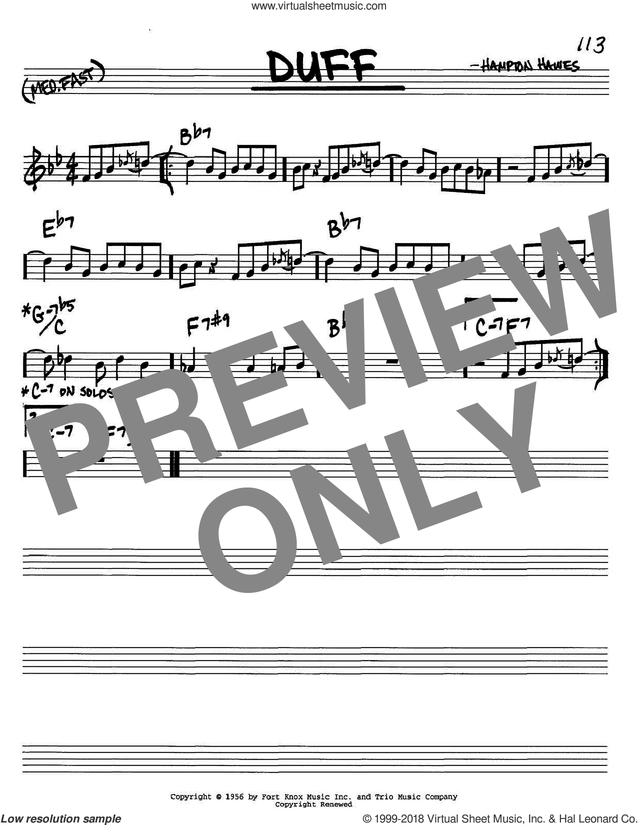Duff sheet music for voice and other instruments (C) by Hampton Hawes. Score Image Preview.