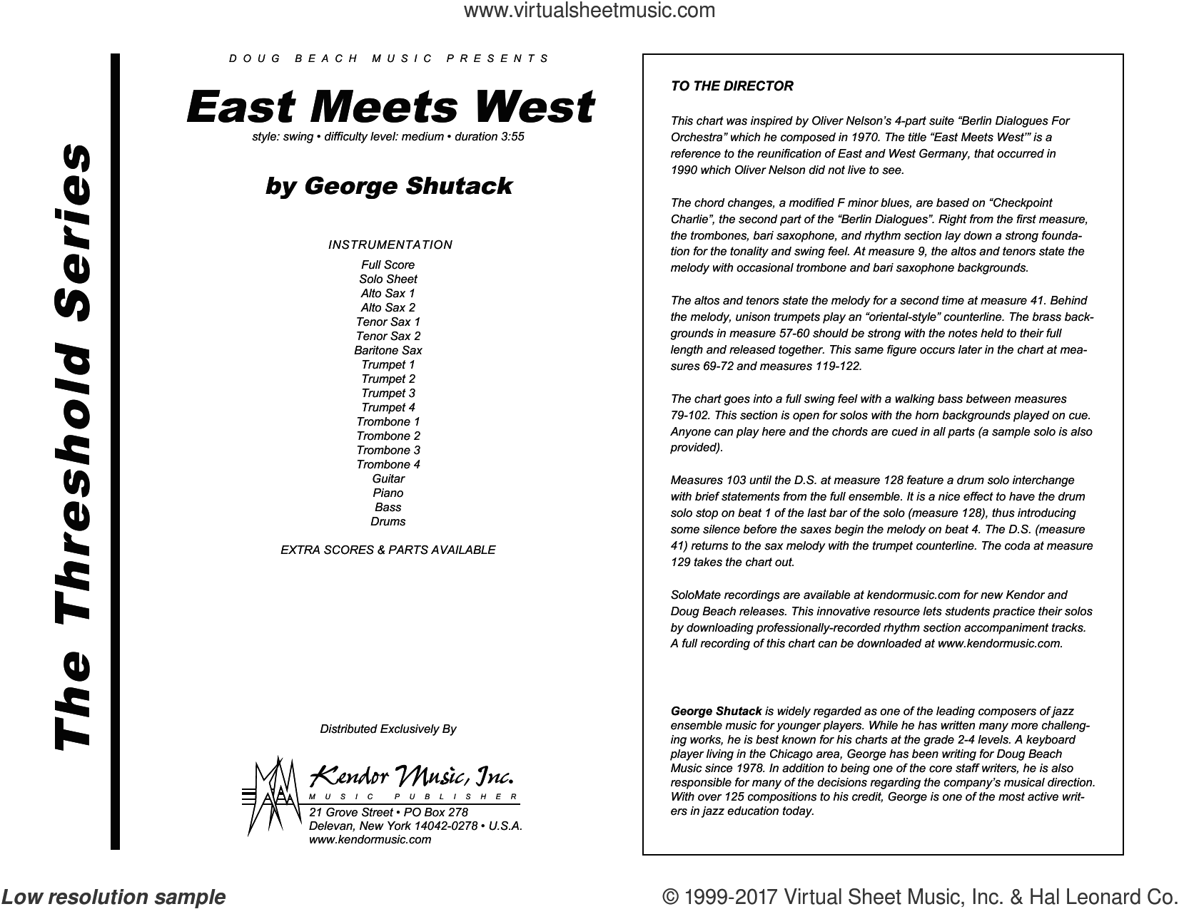 East Meets West (COMPLETE) sheet music for jazz band by George Shutack, intermediate skill level