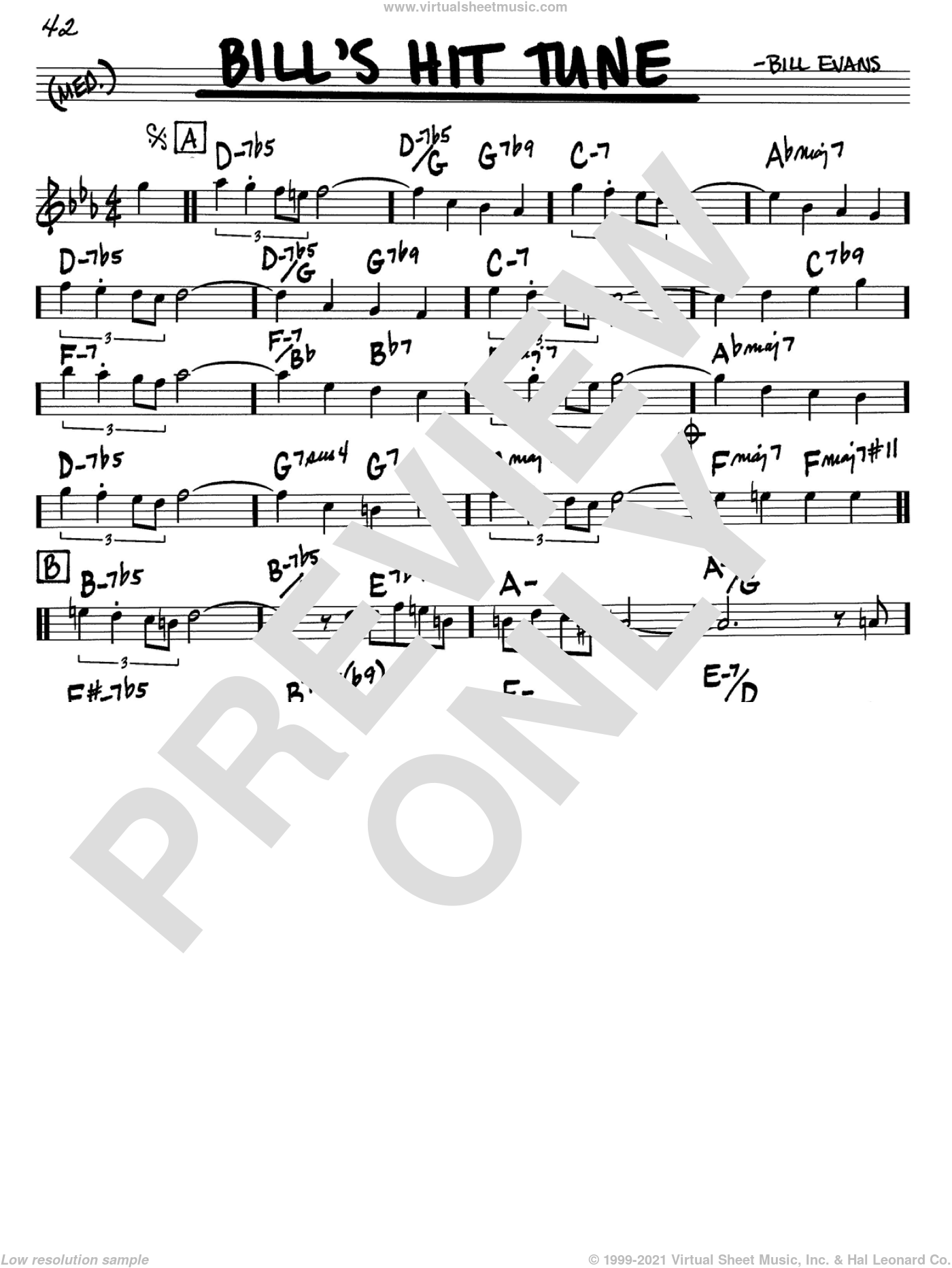 Bill's Hit Tune sheet music for voice and other instruments (C) by Bill Evans