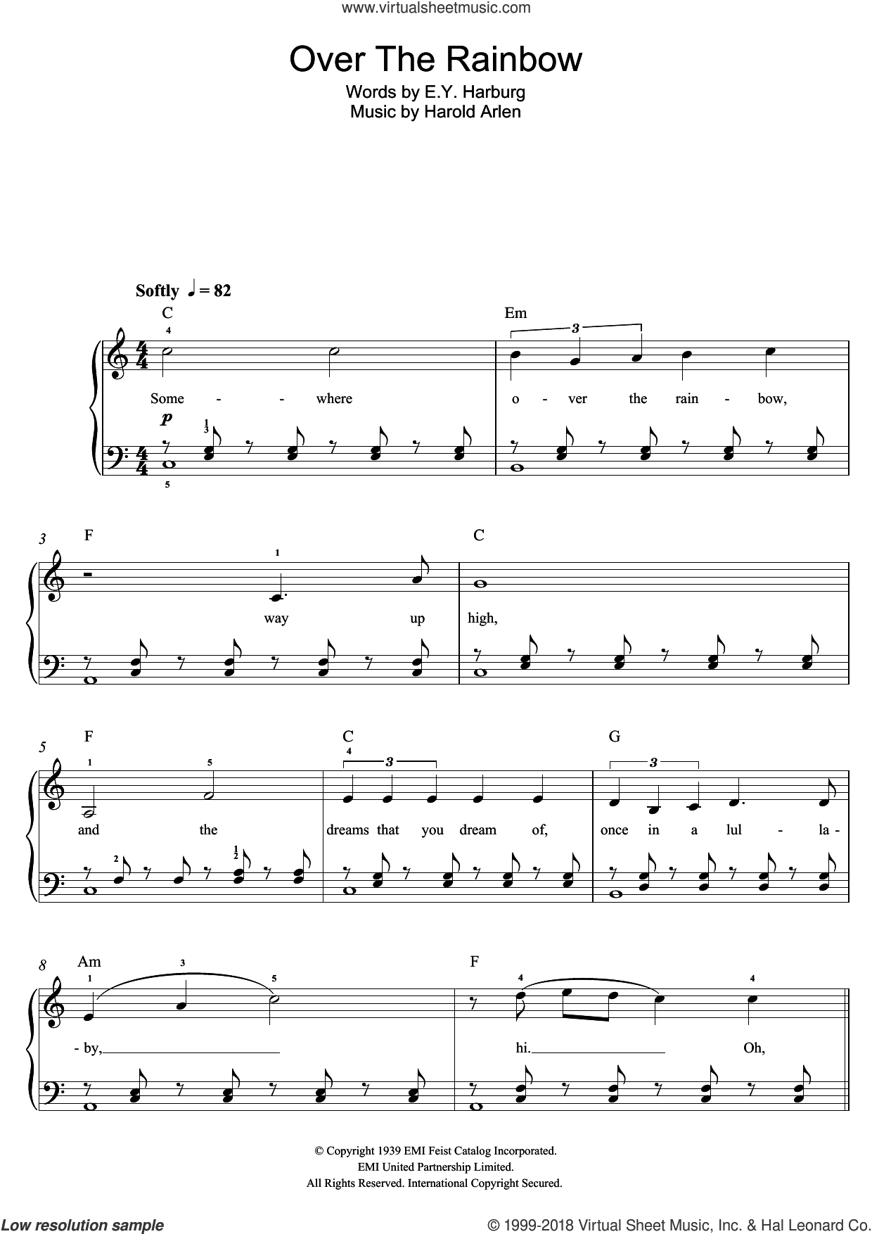 Over The Rainbow sheet music for piano solo (beginners) by Israel